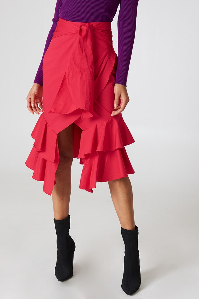 Solid Tie Ruffle Skirt Red