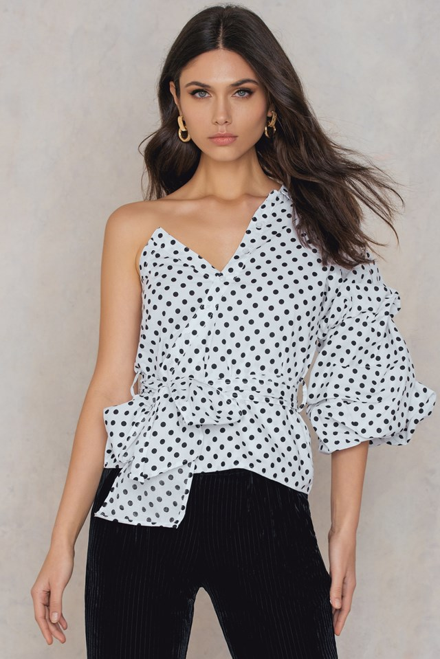 Polka Dot One Shoulder Top White