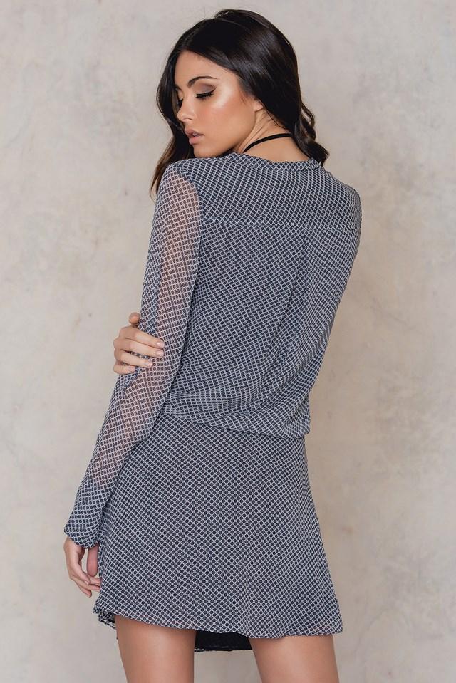 Belmont Wrap Dress Navy Foulard Print