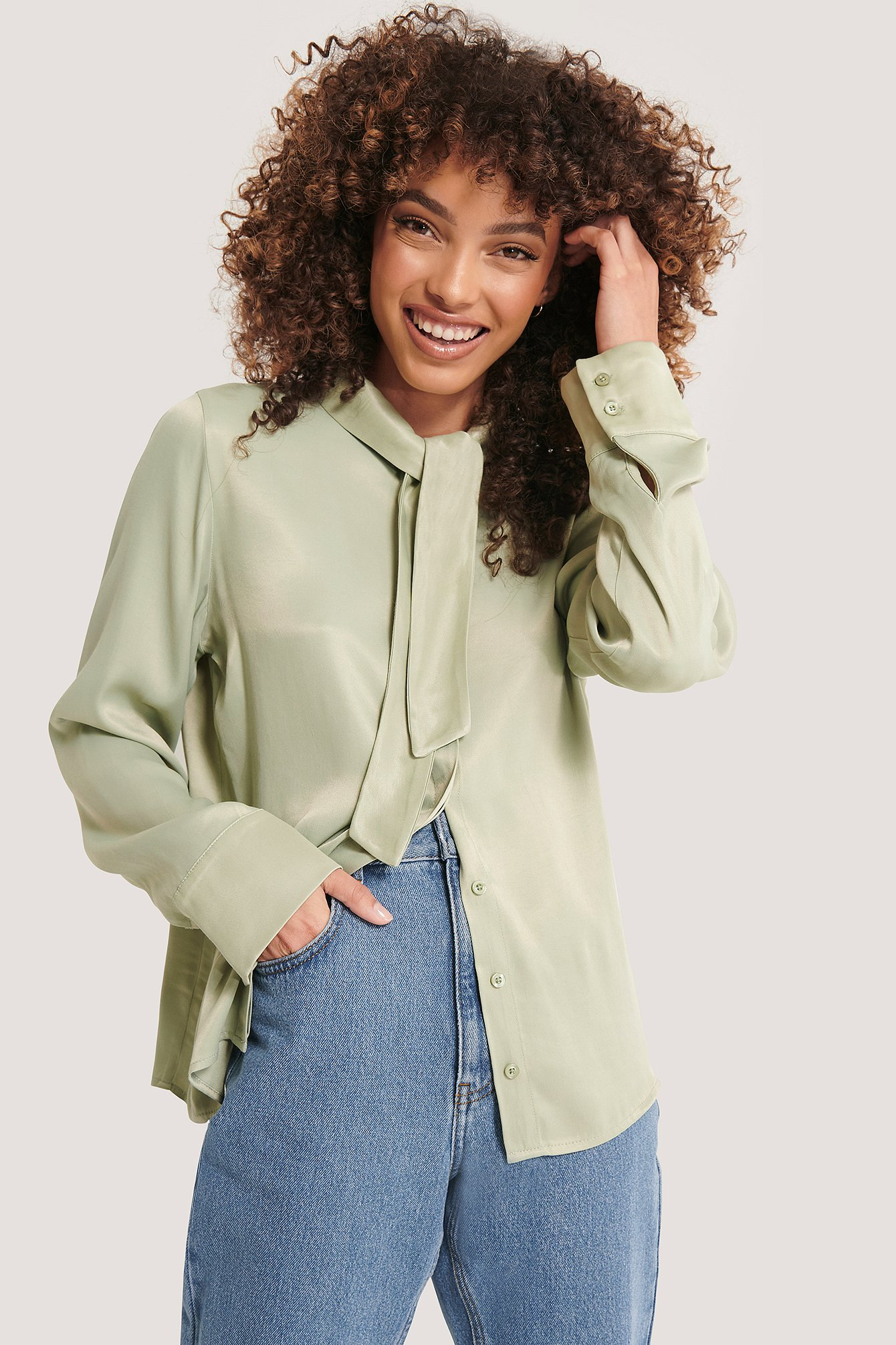 Green Tie Neck Blouse