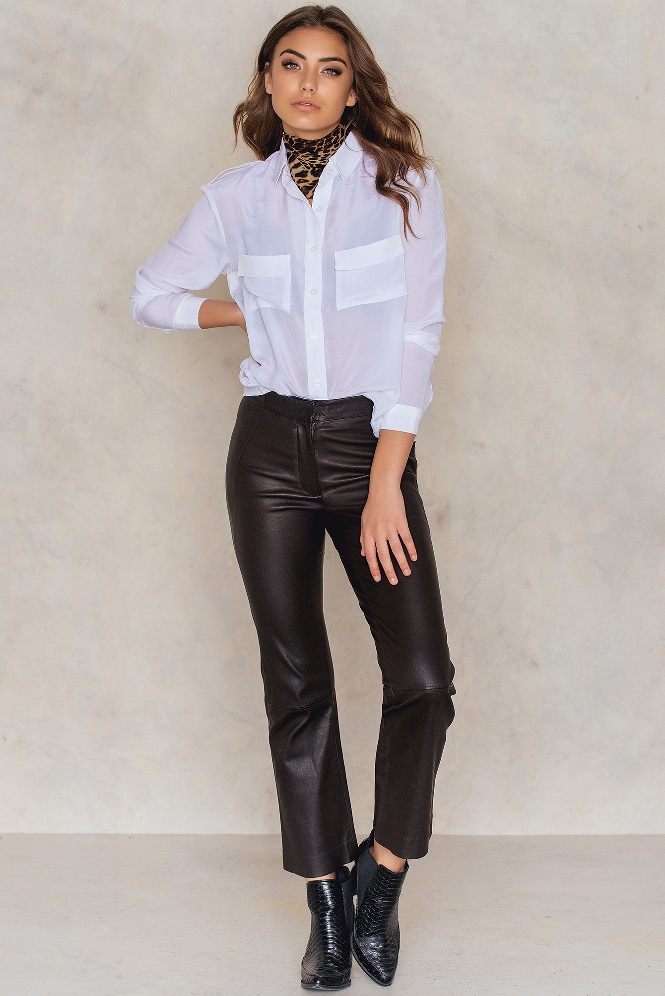 White Double Pocket Blouse