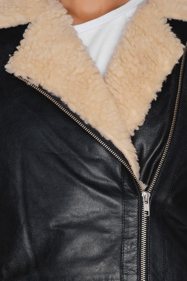 Loose Leather Jacket Black