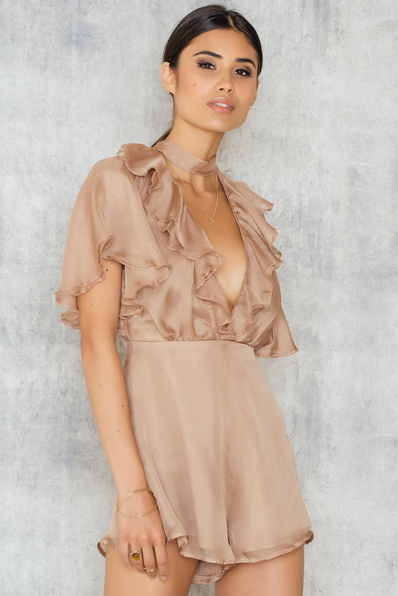 Roser Floating Neck Tie Romper Nude