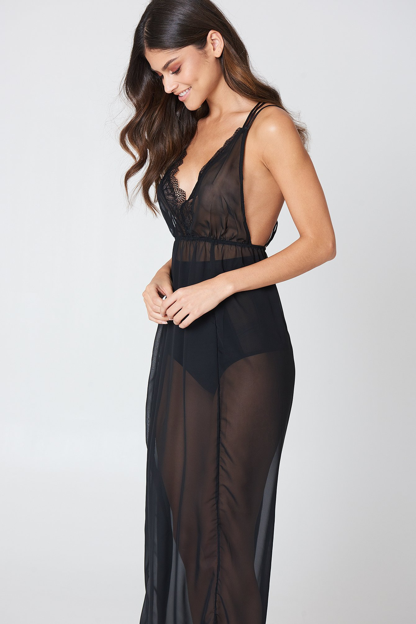 Bluebella Lily Long Chemise Black