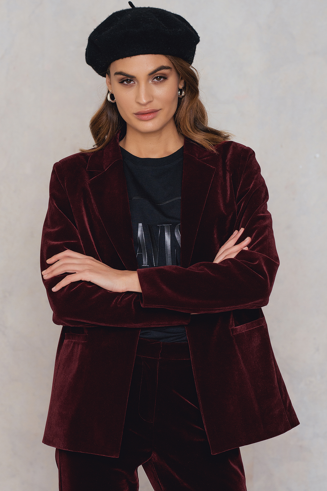 NA-KD Trend Velvet Loose Fit Blazer Red