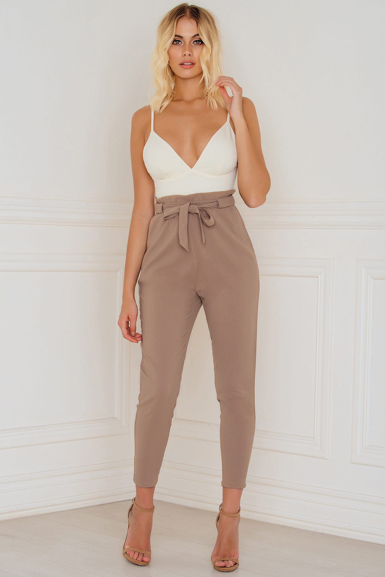Evaliah Grace High Waist London Pants Brown
