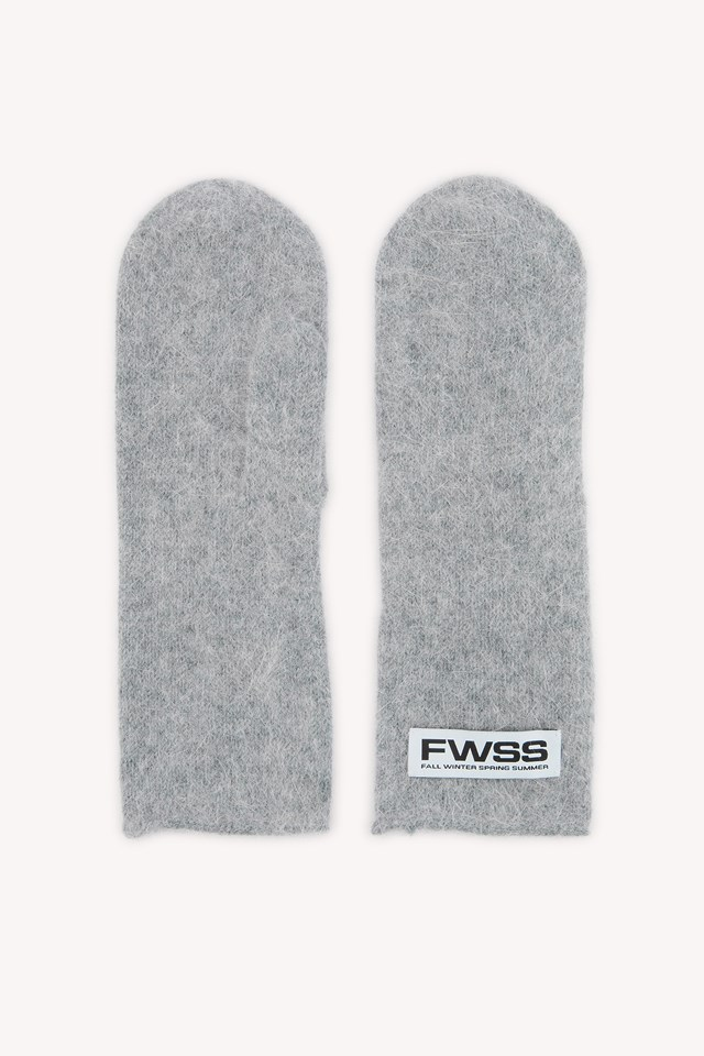 Talk About It Mittens Light Grey