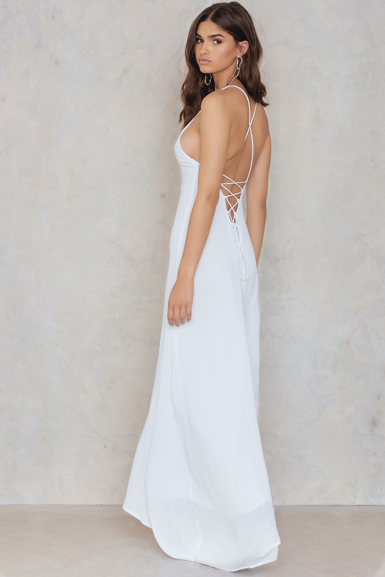 Girl & The Sun Luna Tie Back Maxi Dress White by Girl & The Sun