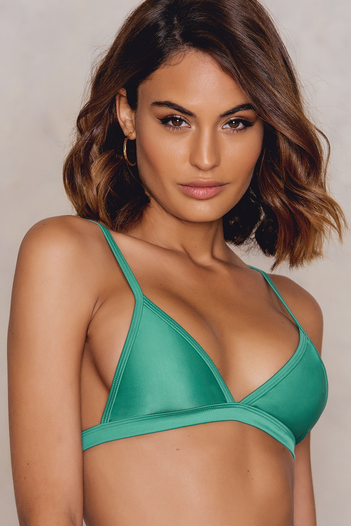 Hot Anatomy Triangle Bikini Top Green