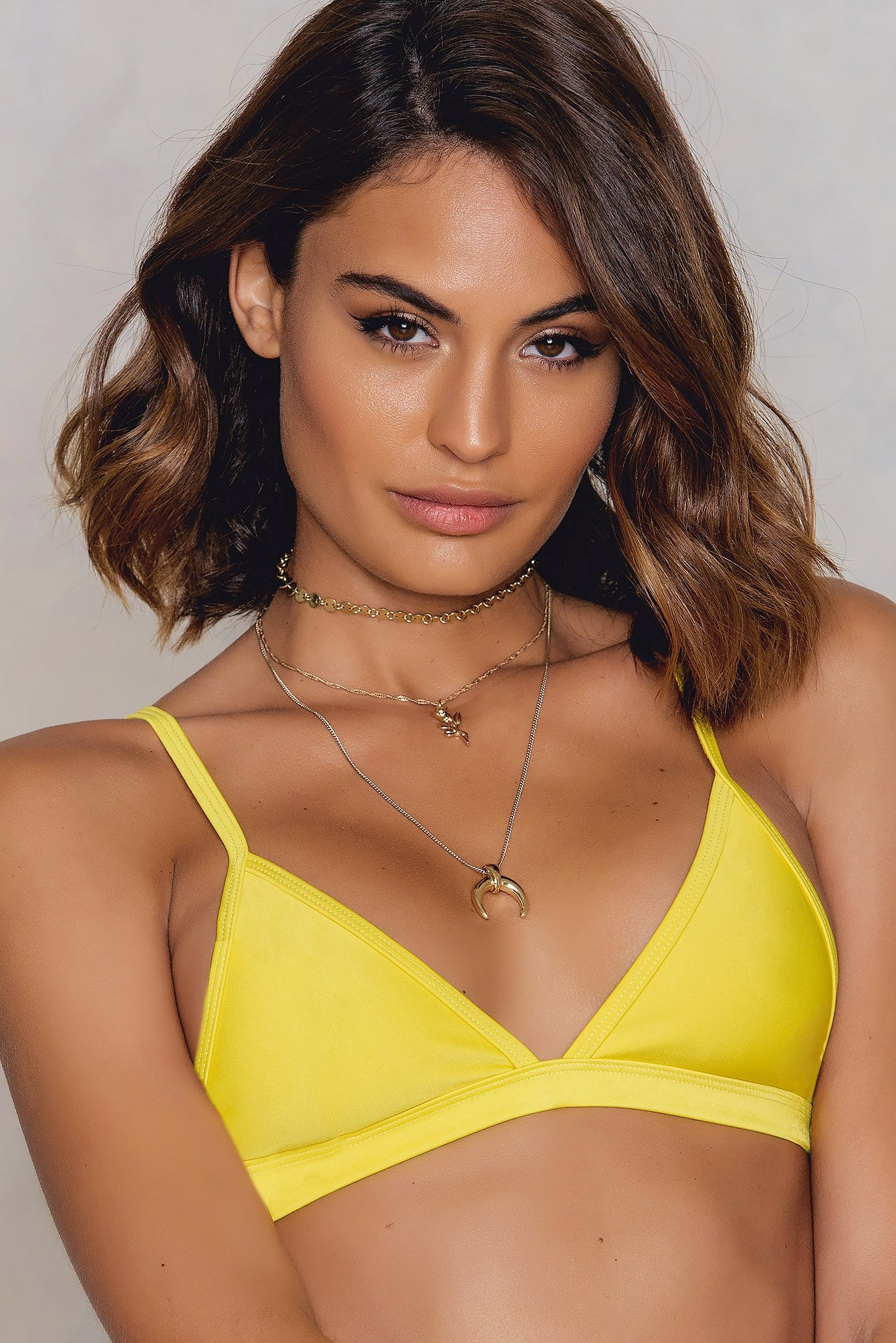 Hot Anatomy Triangle Bikini Top Yellow