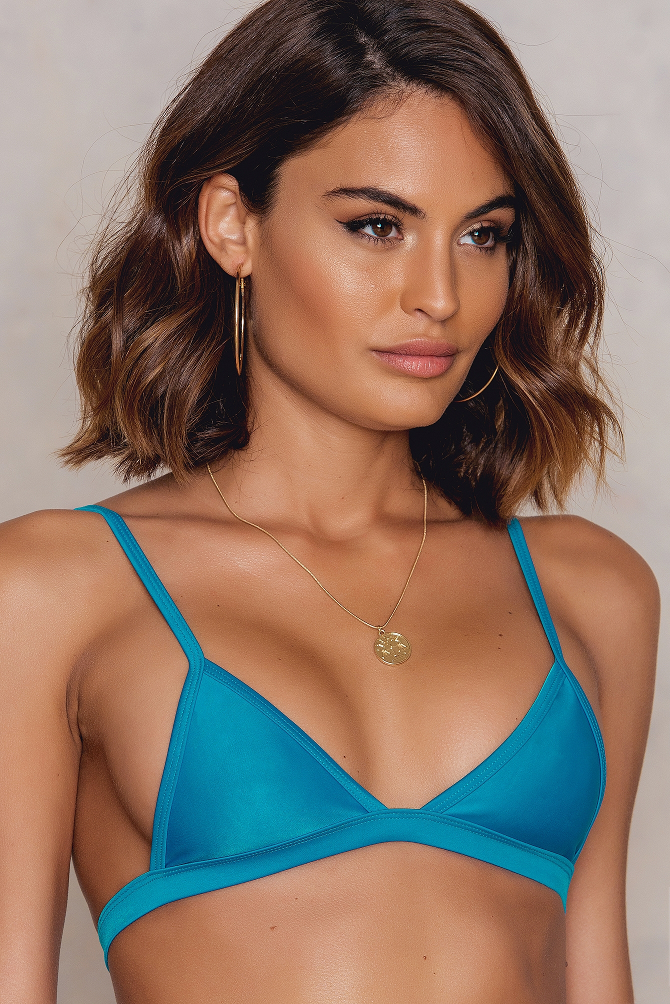 Hot Anatomy Triangle Bikini Top Blue