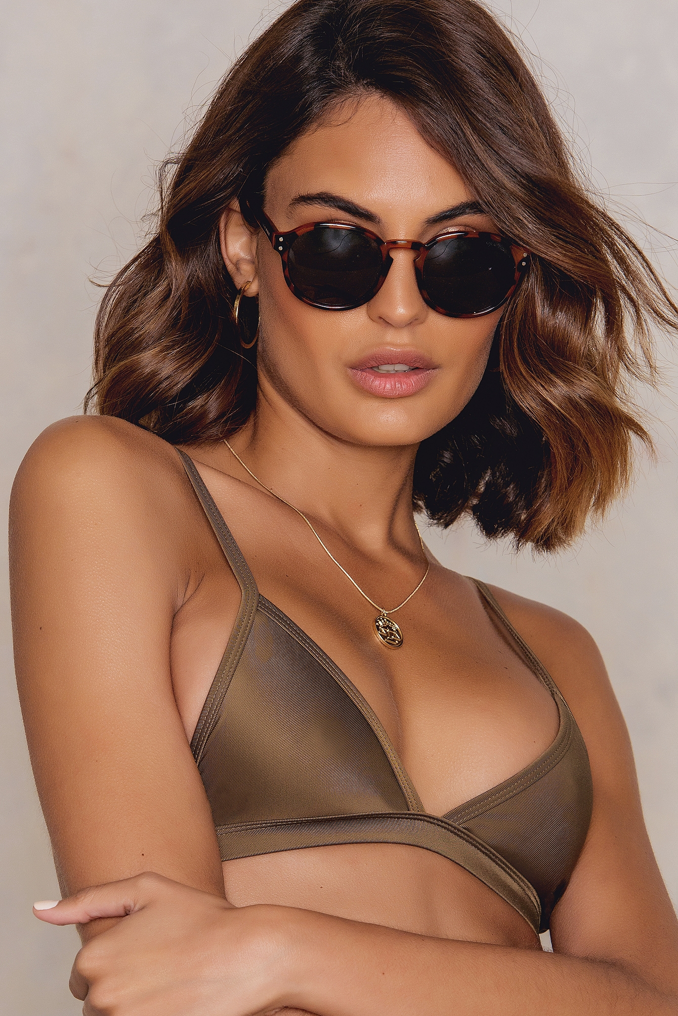 Hot Anatomy Triangle Bikini Top Brown