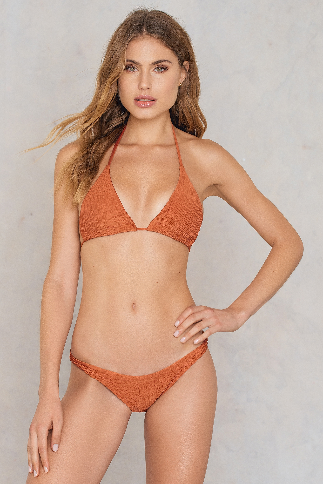 Hot Anatomy Wrinkled Triangle Bikini Panty Orange