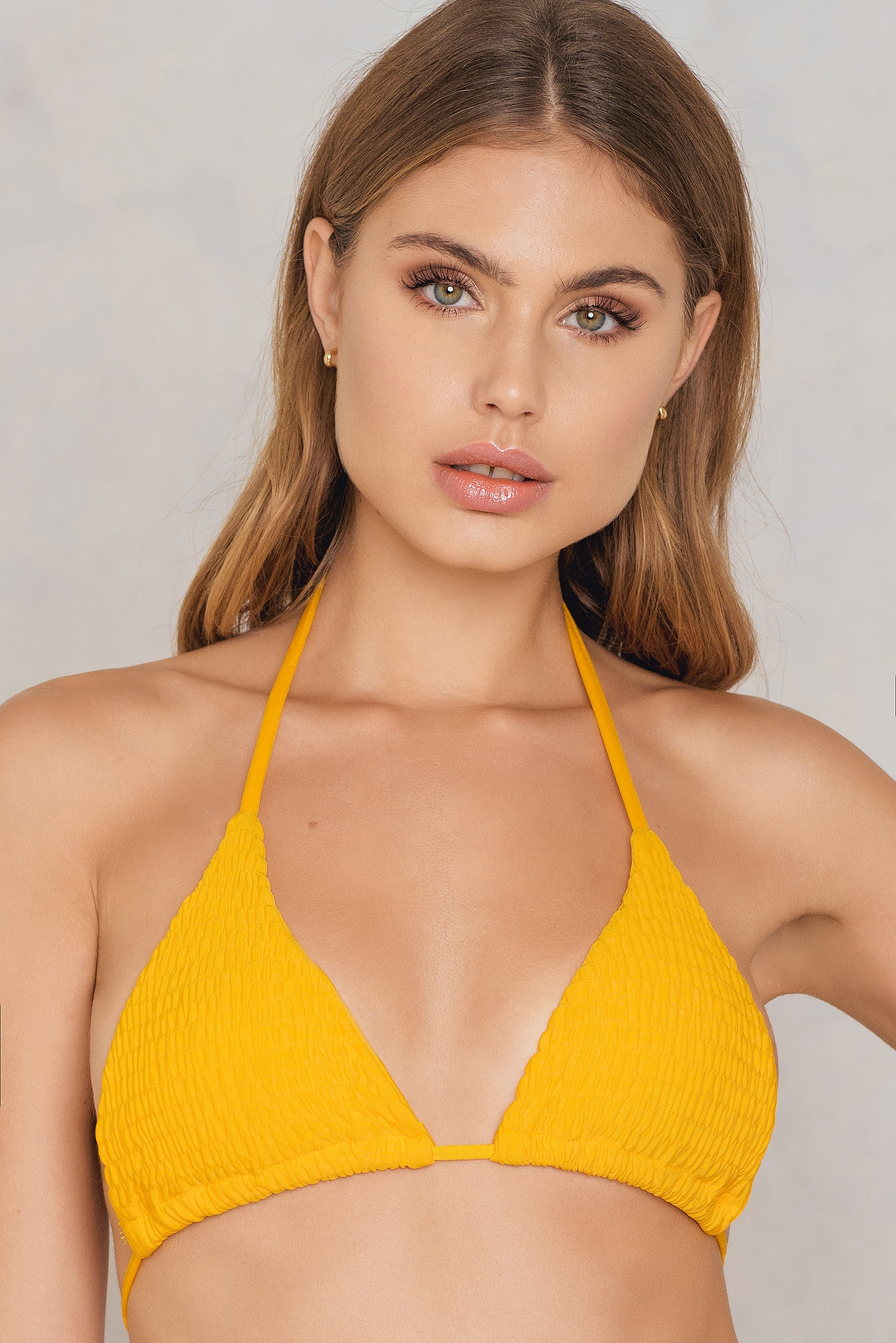 Hot Anatomy Wrinkled Triangle Bikini Top Yellow