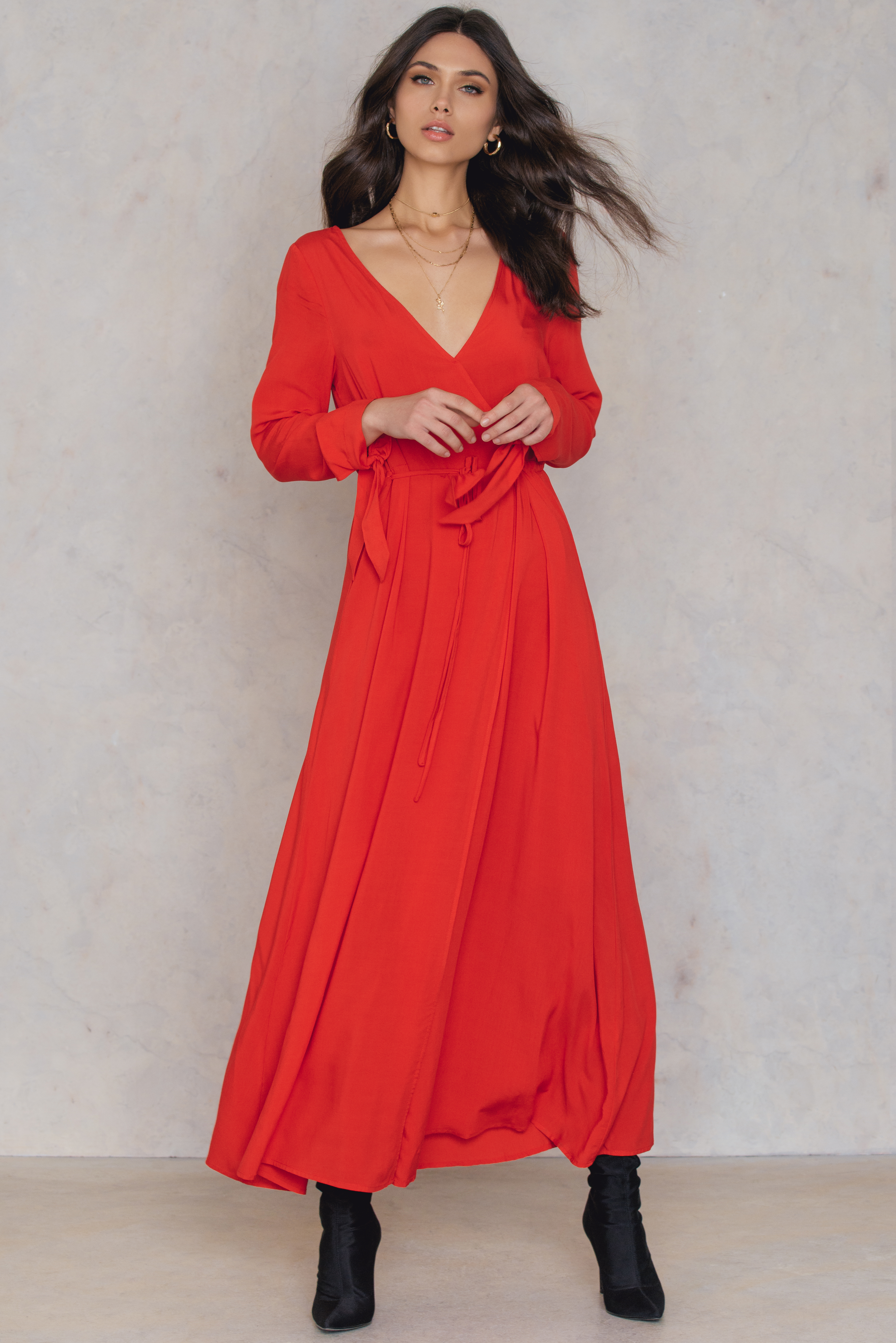 NA-KD Trend Long Sleeve Coat Dress Red