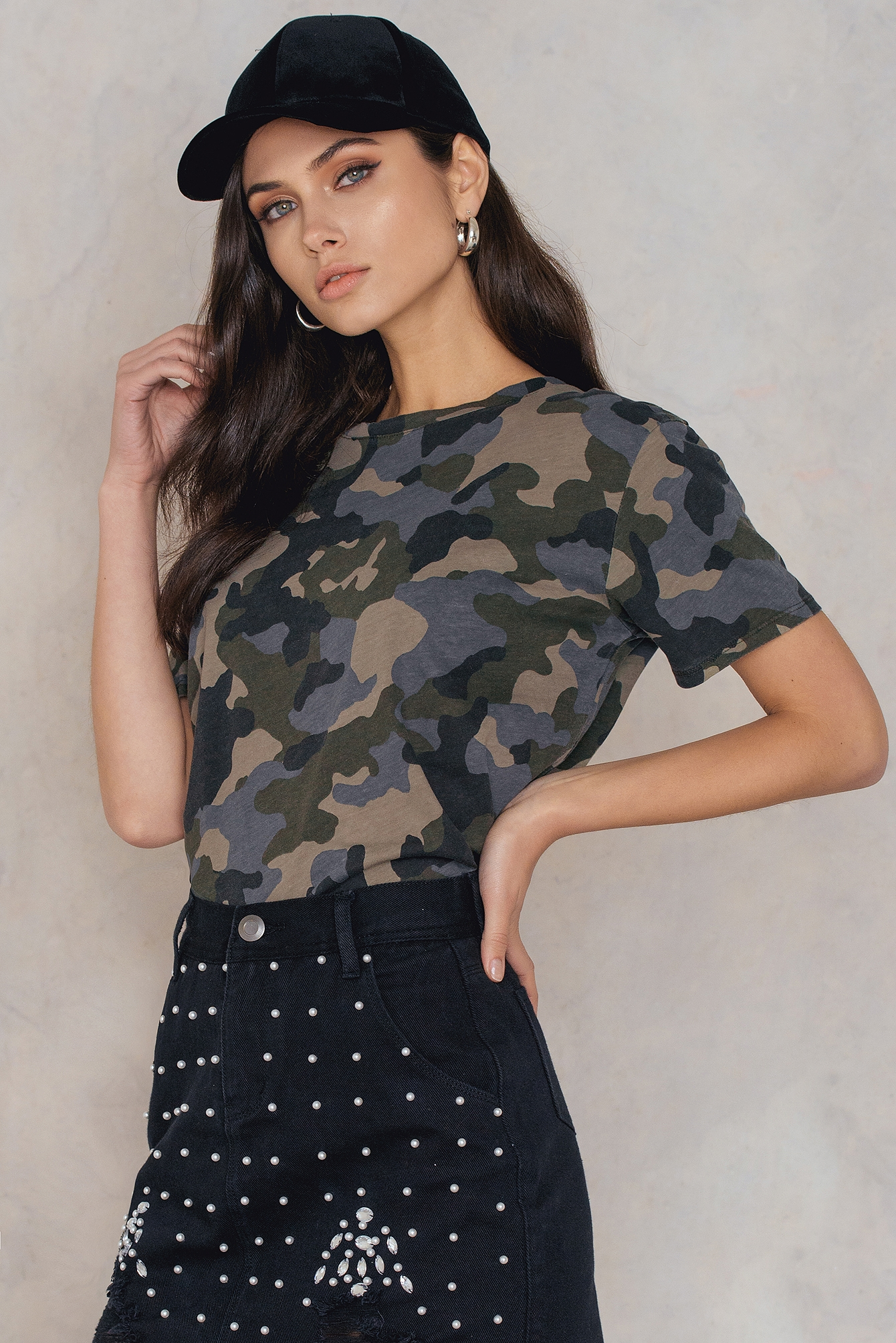 NA-KD Trend Army Basic Oversize Tee Black, Green, Multicolor