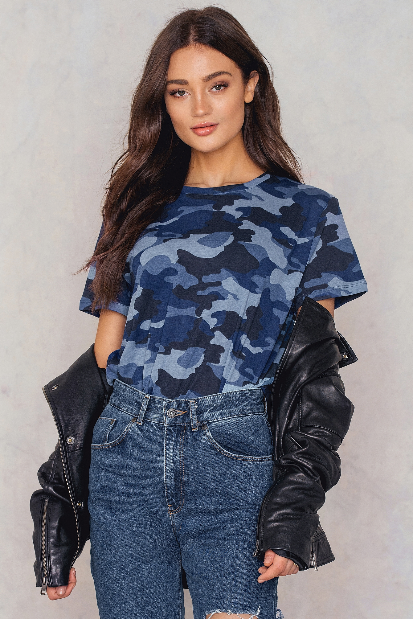 NA-KD Trend Army Basic Oversize Tee Blue