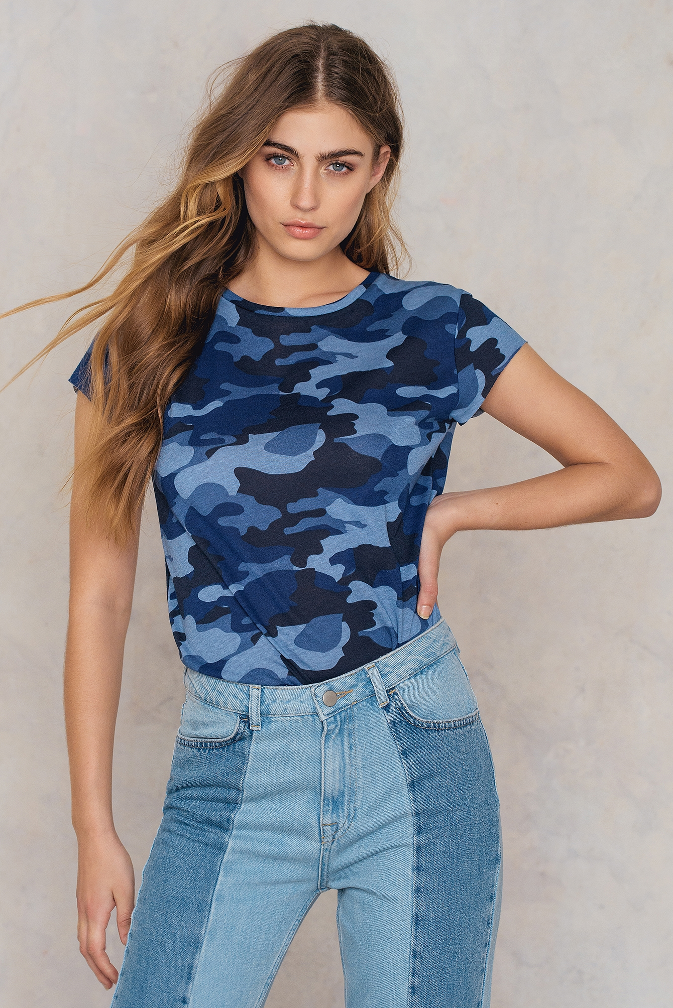 NA-KD Trend Army Raw Edge Tee Blue, Multicolor