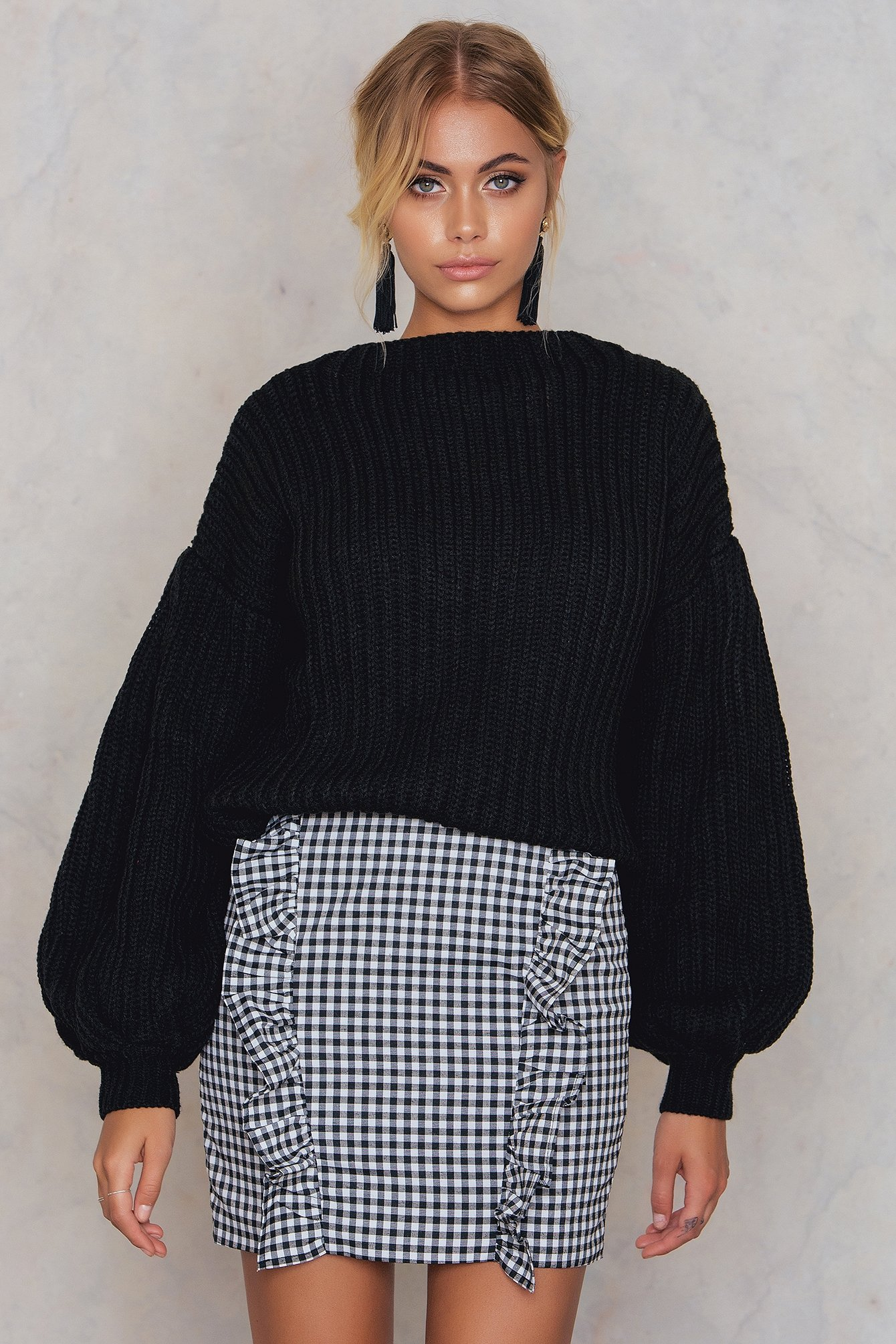 NA-KD Trend Balloon Sleeve Knitted Sweater Black