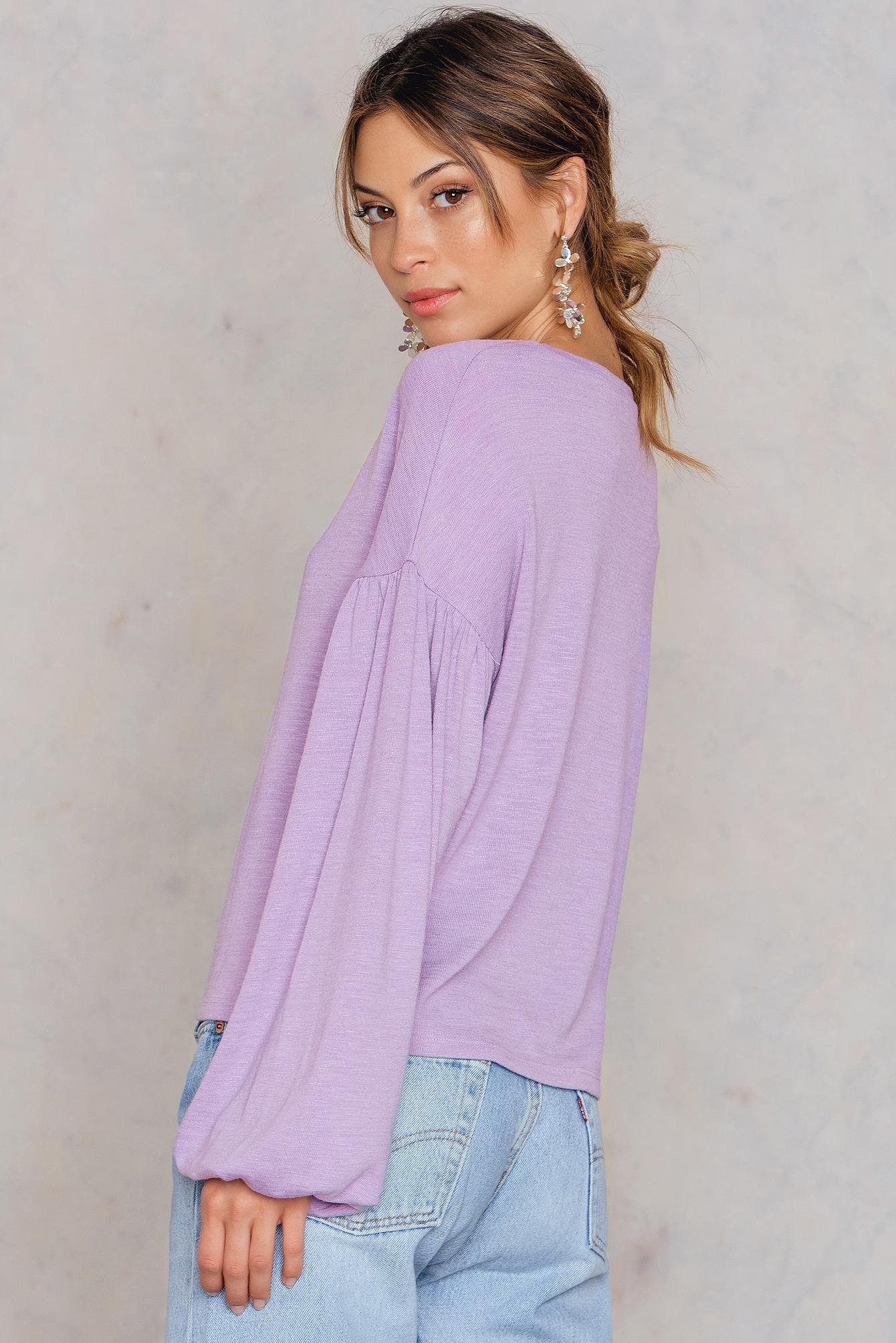 NA-KD Boho Balloon Sleeve Sweater Purple