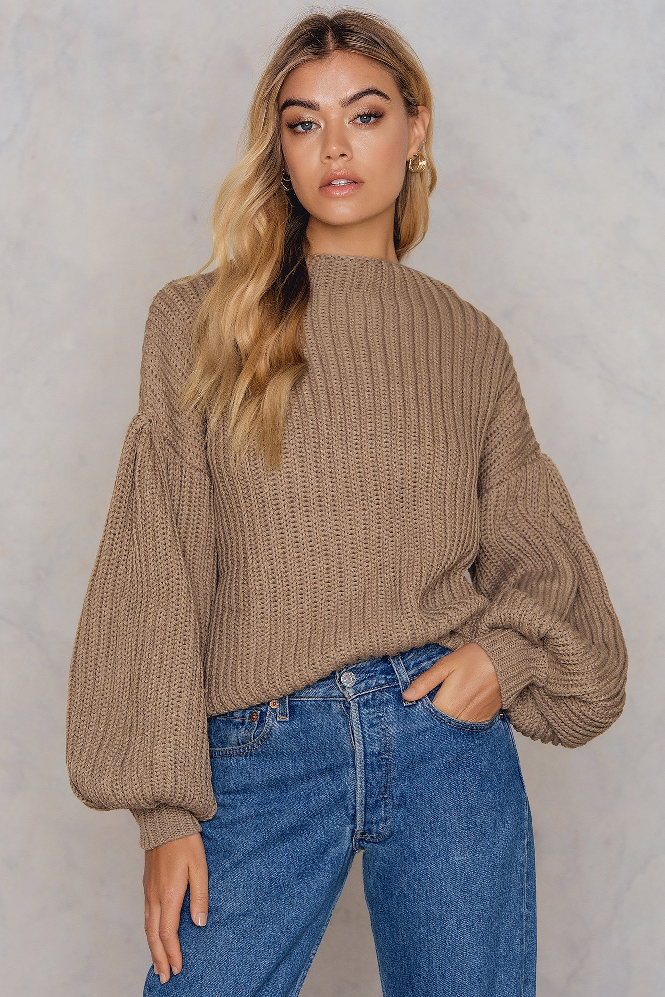NA-KD Trend Balloon Sleeve Knitted Sweater Beige