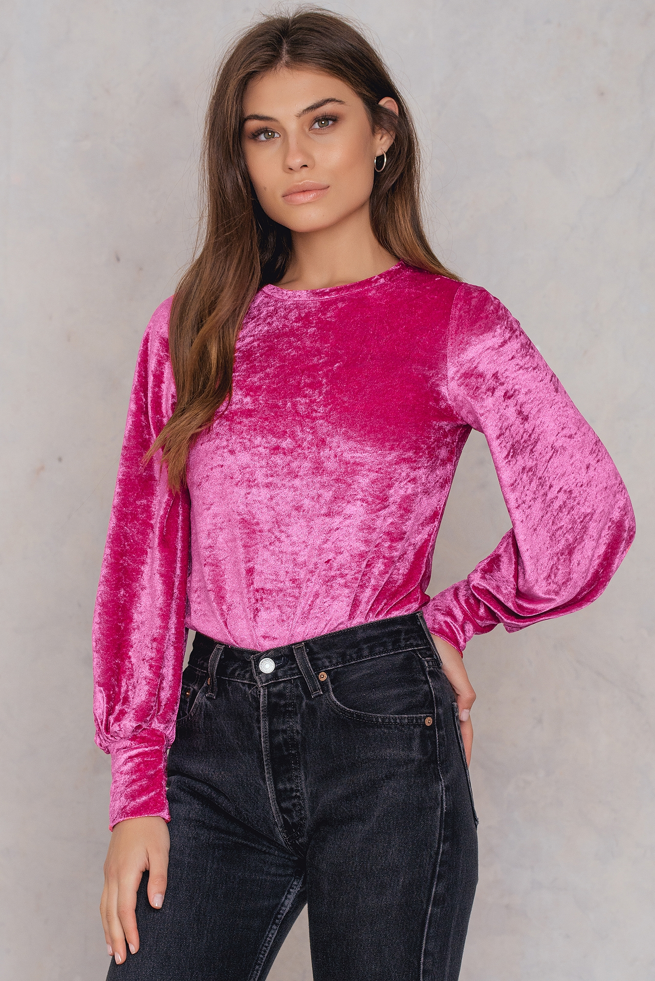 NA-KD Party Velvet Balloon Sleeve Top Pink