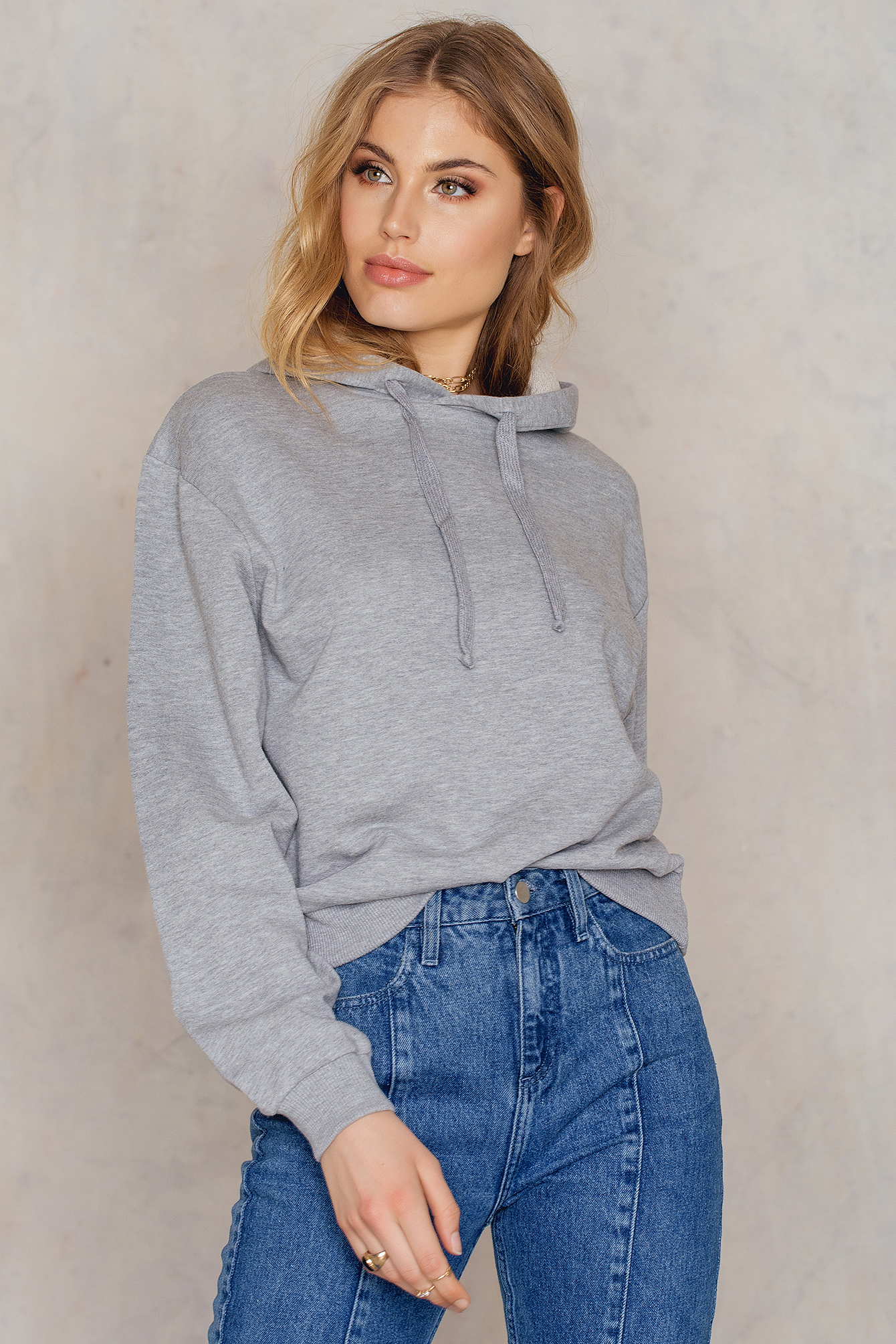 NA-KD Basic Basic Hoodie Grey
