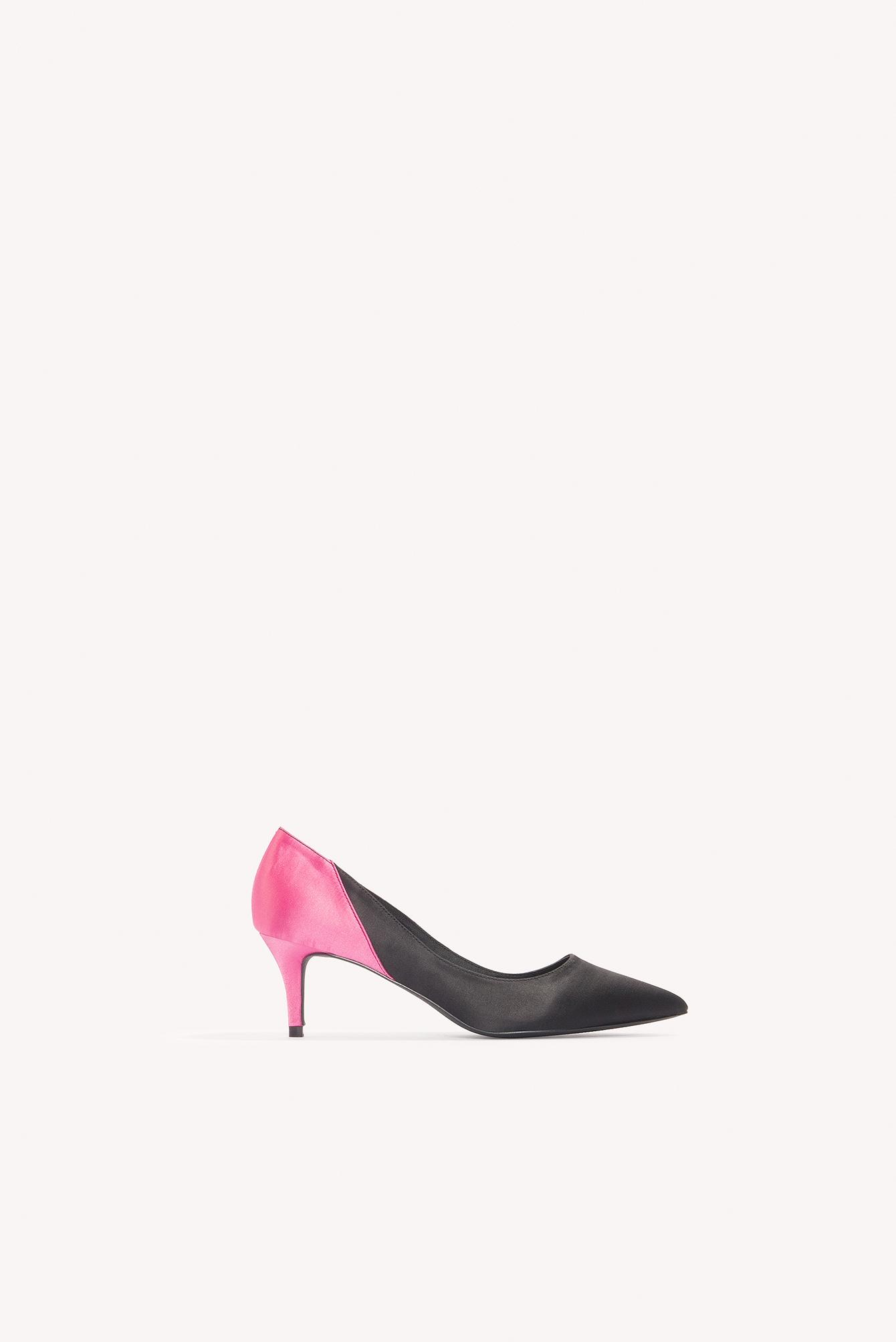 47314c94d9 Image of NA-KD Shoes Block Mid Heel Satin Pumps - Black, Multicolor