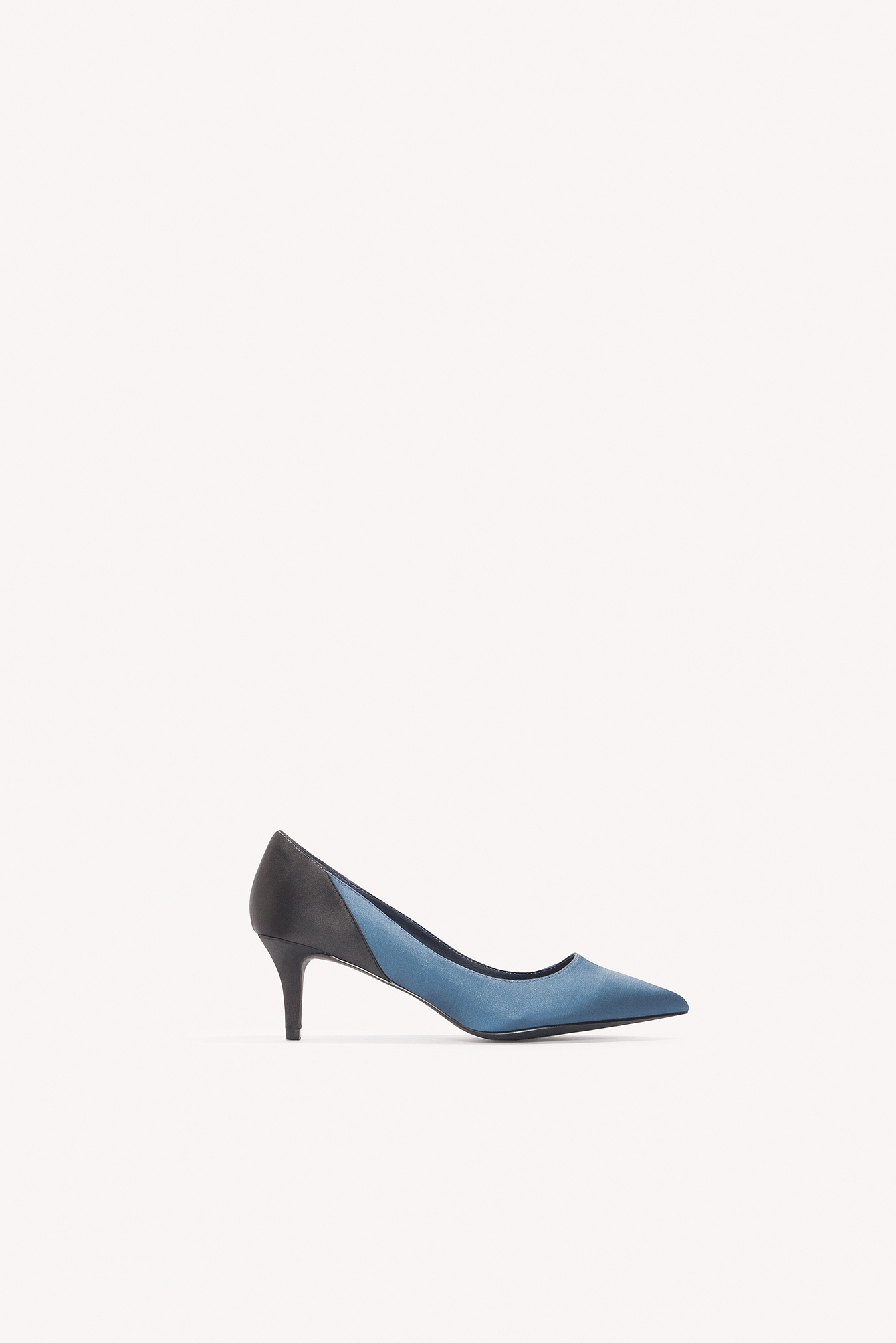 NA-KD Shoes Block Mid Heel Satin Pumps Blue
