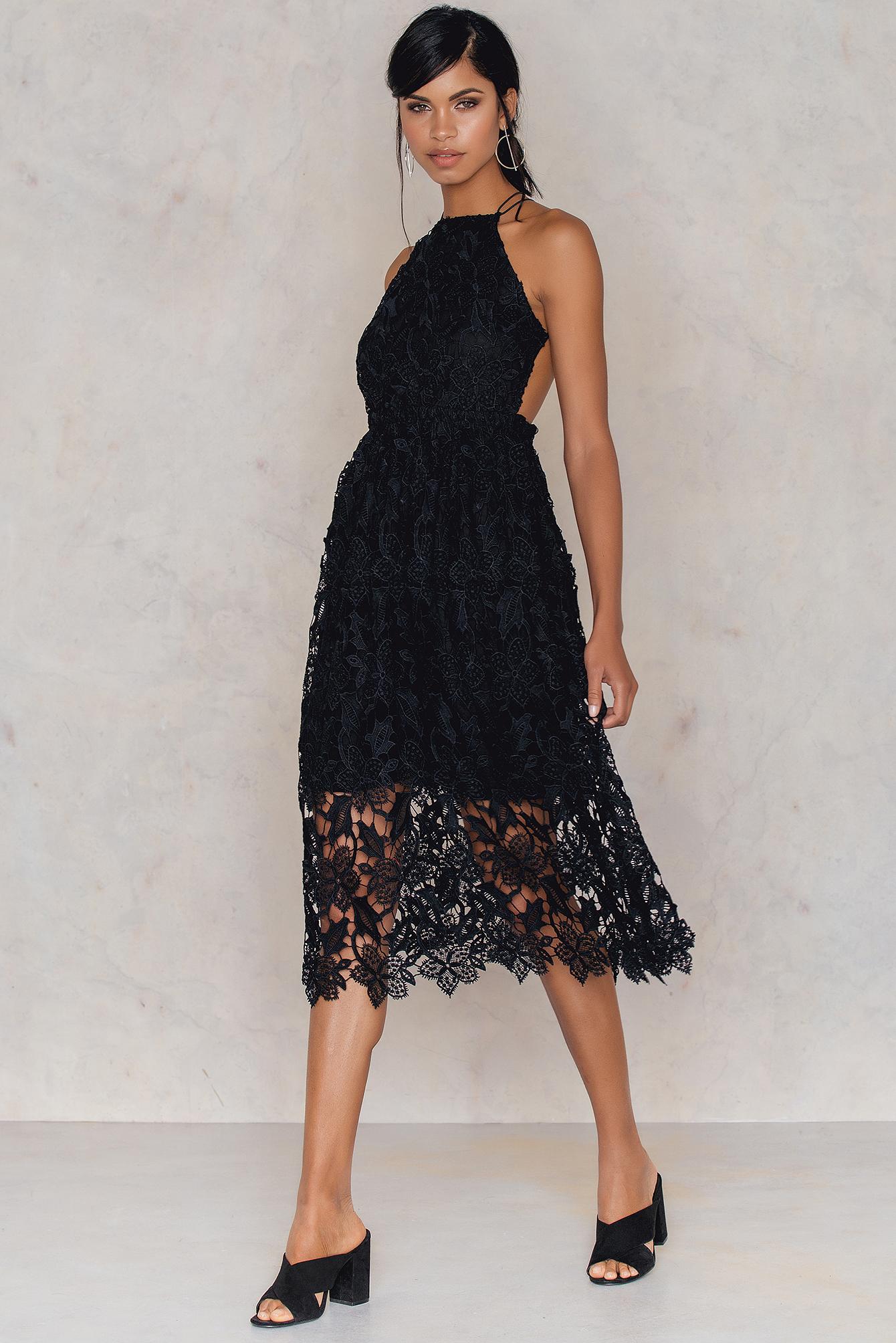 NA-KD Boho Crochet Strap Back Dress Black