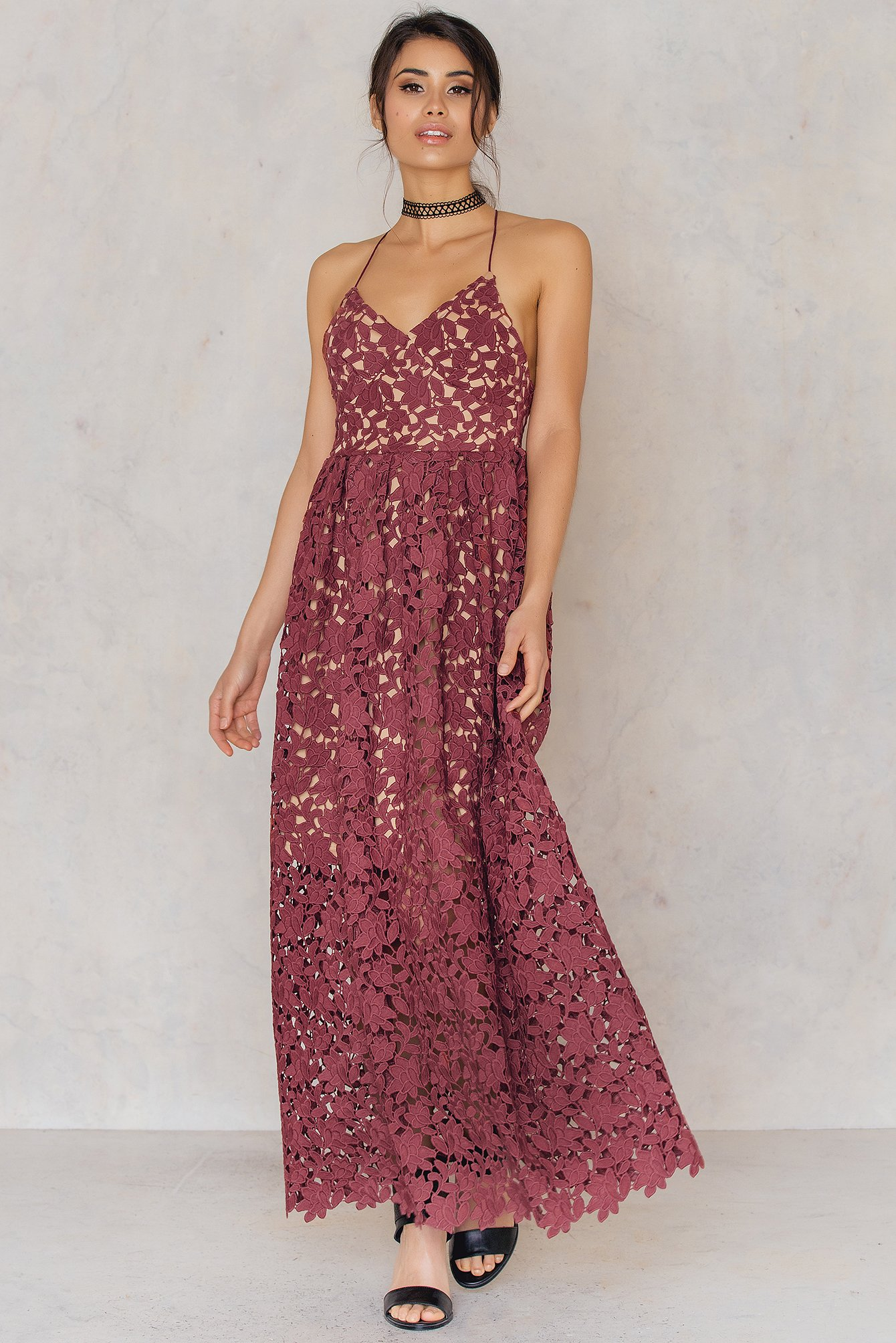NA-KD Boho Flower Crochet Maxi Dress Red