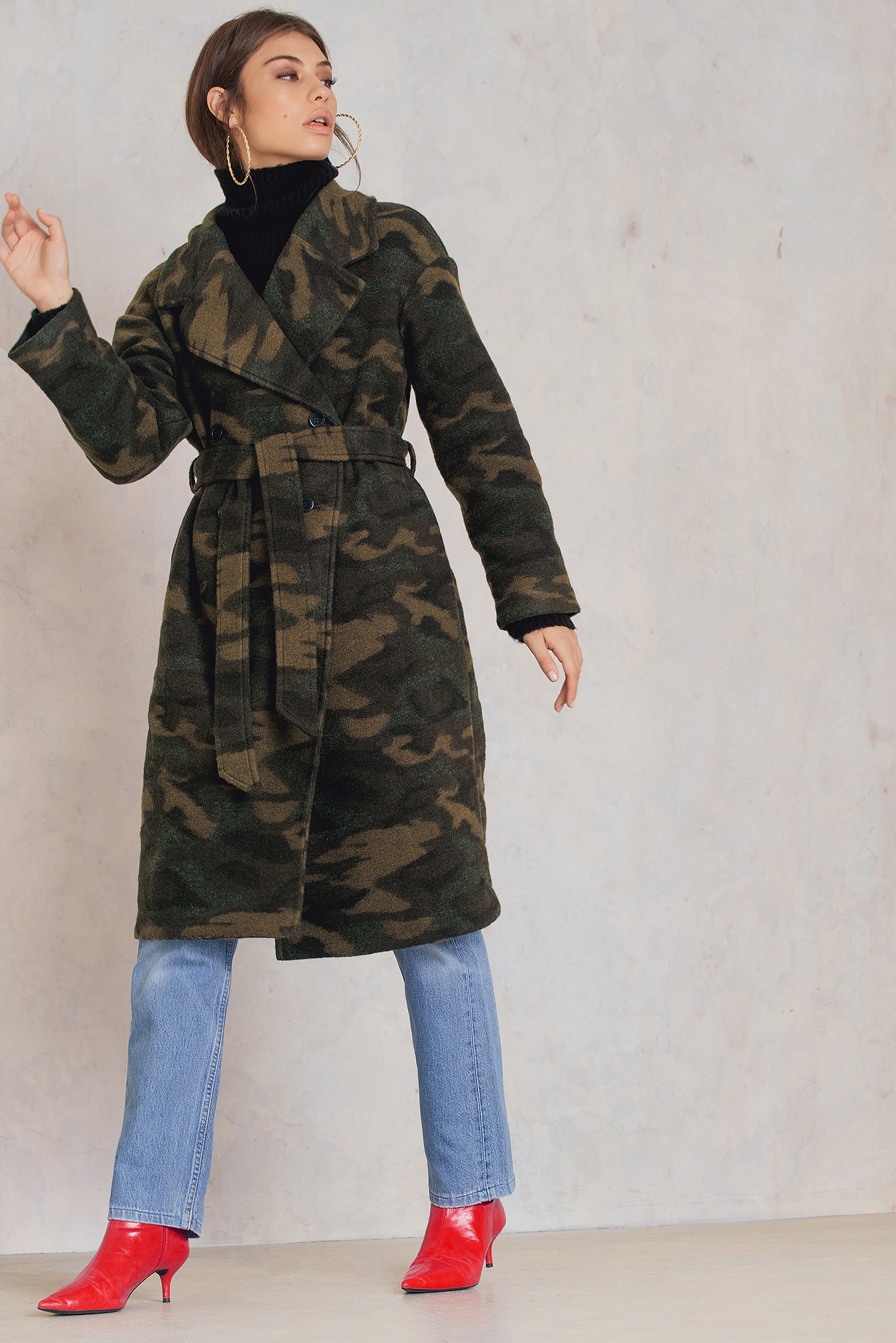 NA-KD Trend Camo Coat Green, Multicolor