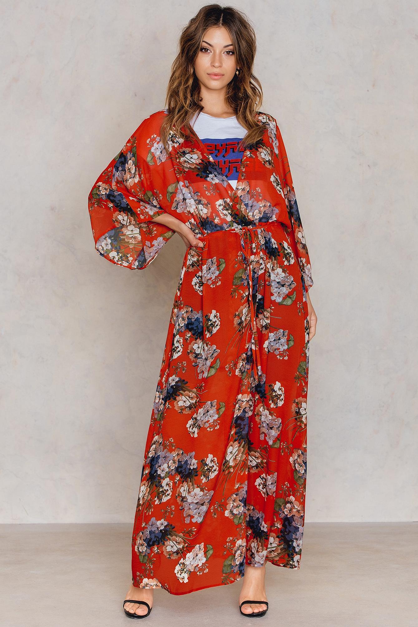 NA-KD Trend Chiffon Coat Dress Red, Multicolor