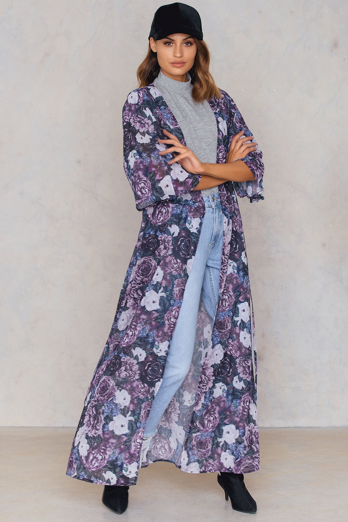 NA-KD Trend Chiffon Coat Dress Purple, Multicolor