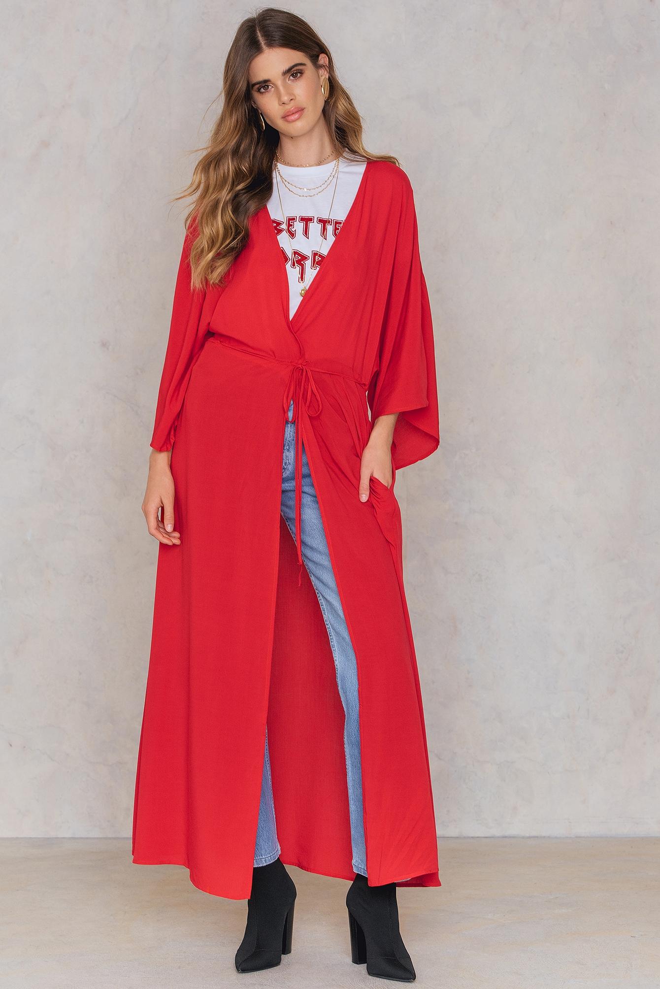 NA-KD Boho Coat Dress Red by NA-KD Boho