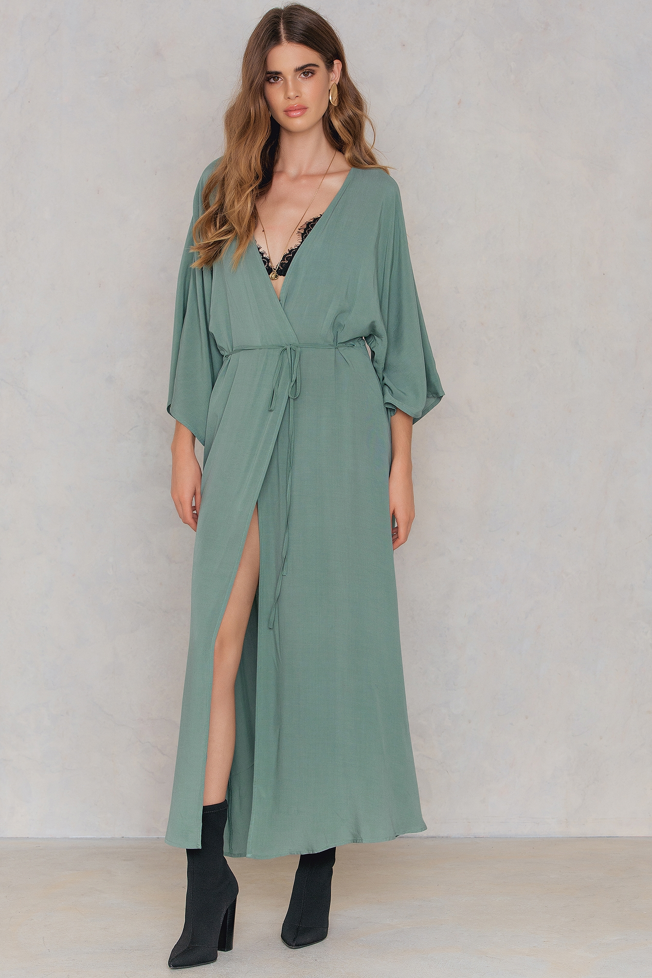 NA-KD Boho Coat Dress Green