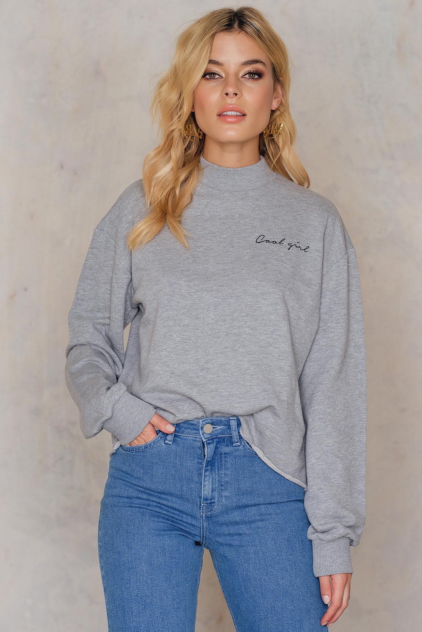 NA-KD Trend Cool Girl Sweatshirt Grey