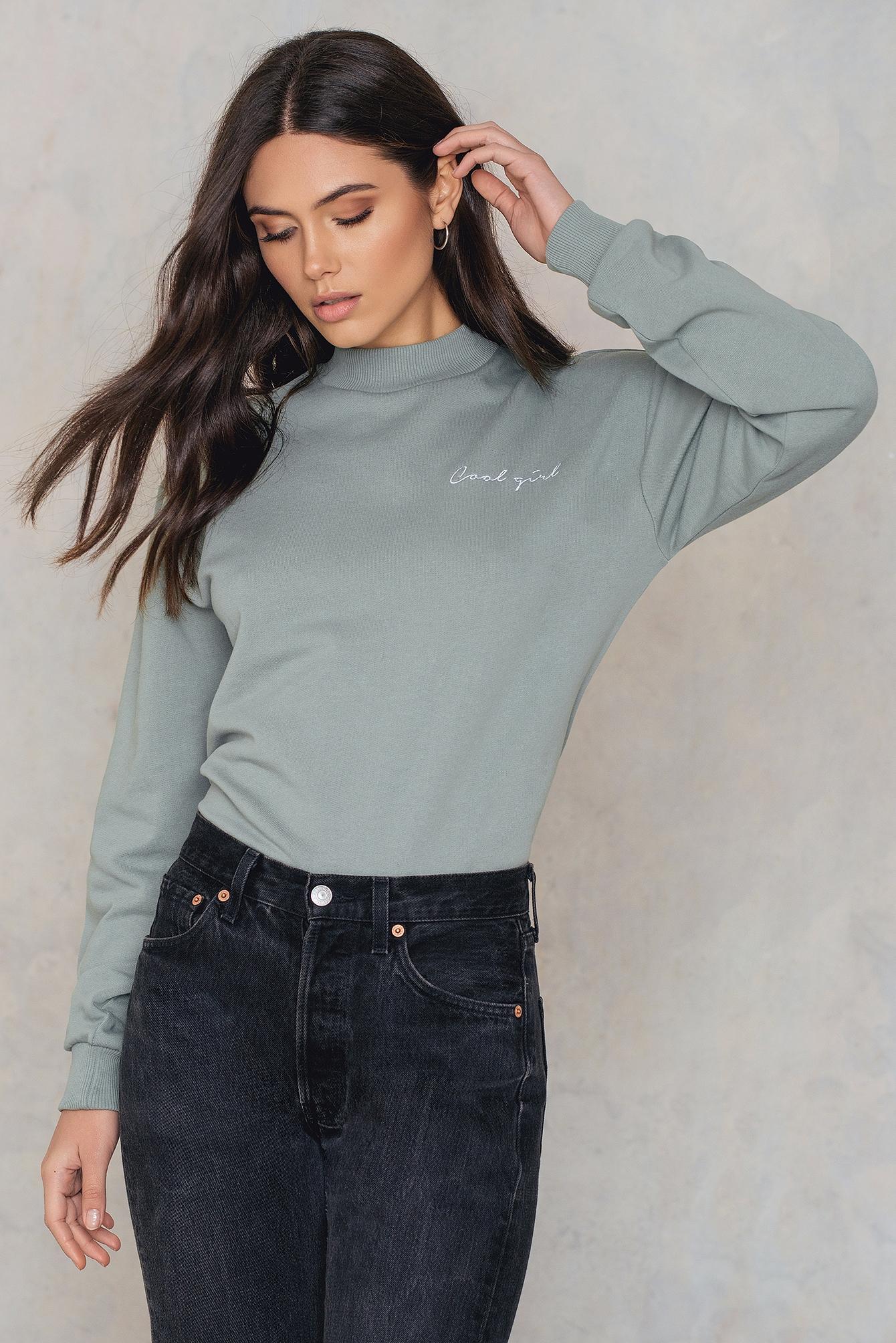 NA-KD Trend Cool Girl Sweatshirt Green
