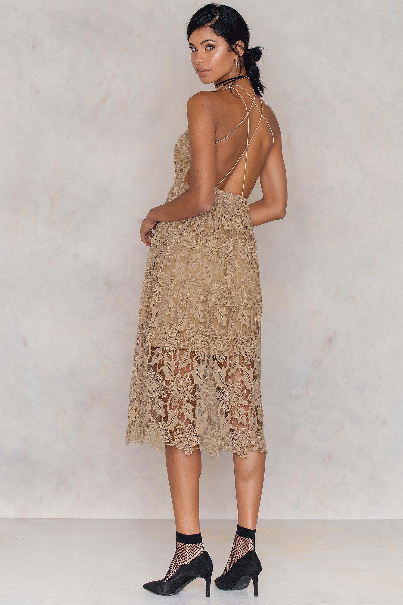 NA-KD Boho Crochet Strap Back Dress Beige