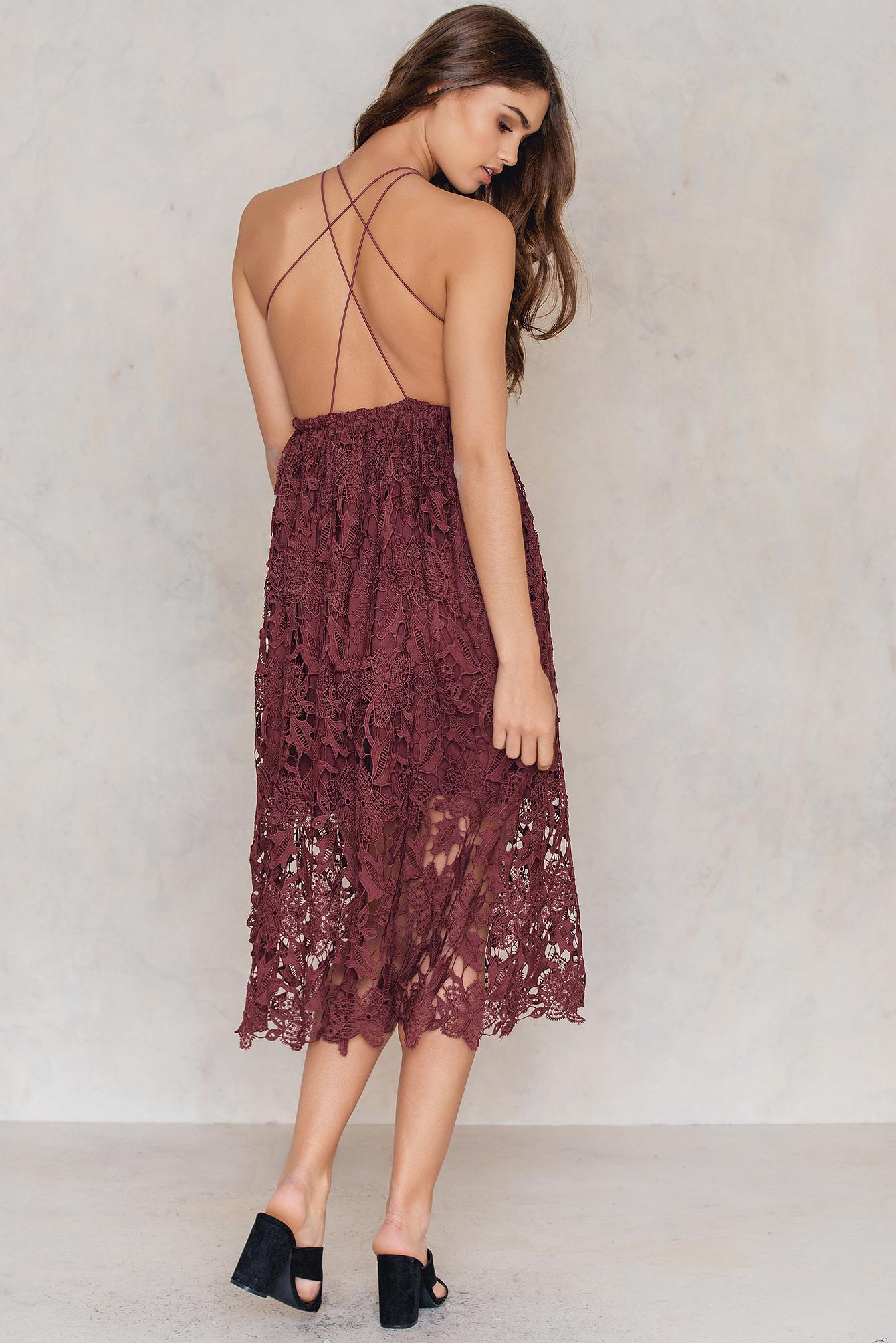 NA-KD Boho Crochet Strap Back Dress Red