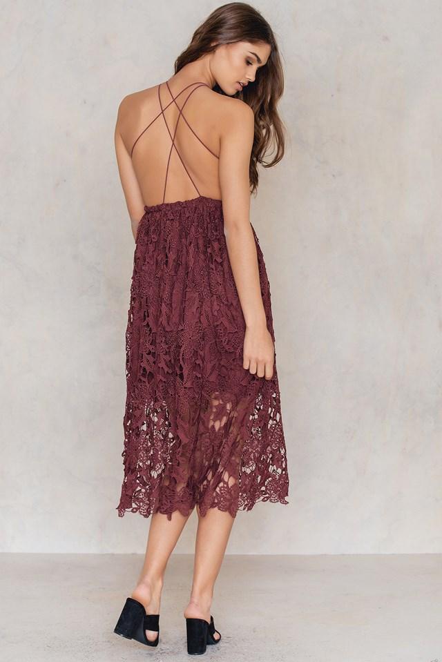 Crochet Strap Back Dress Szary | na-kd.com