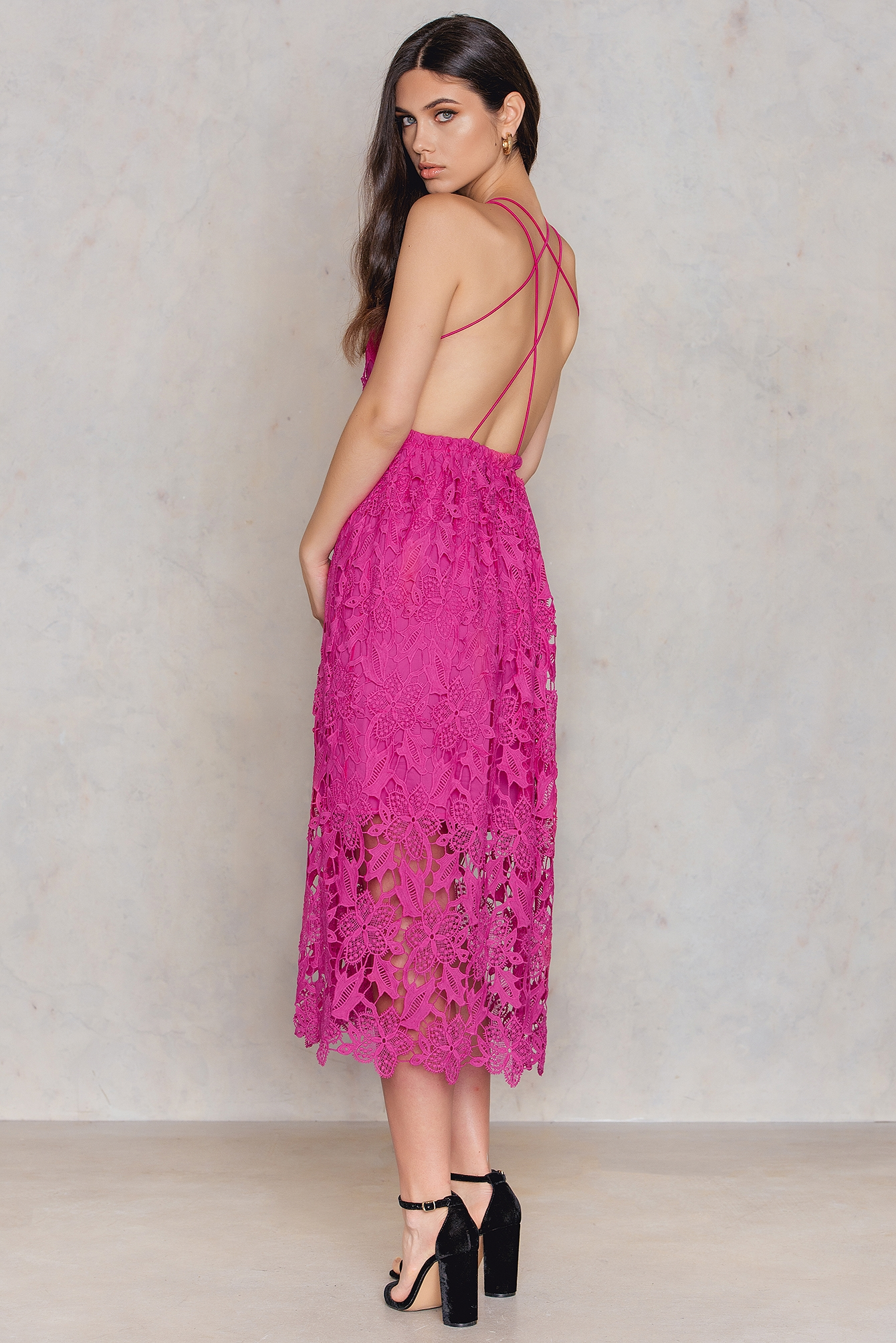 NA-KD Boho Crochet Strap Back Dress Pink