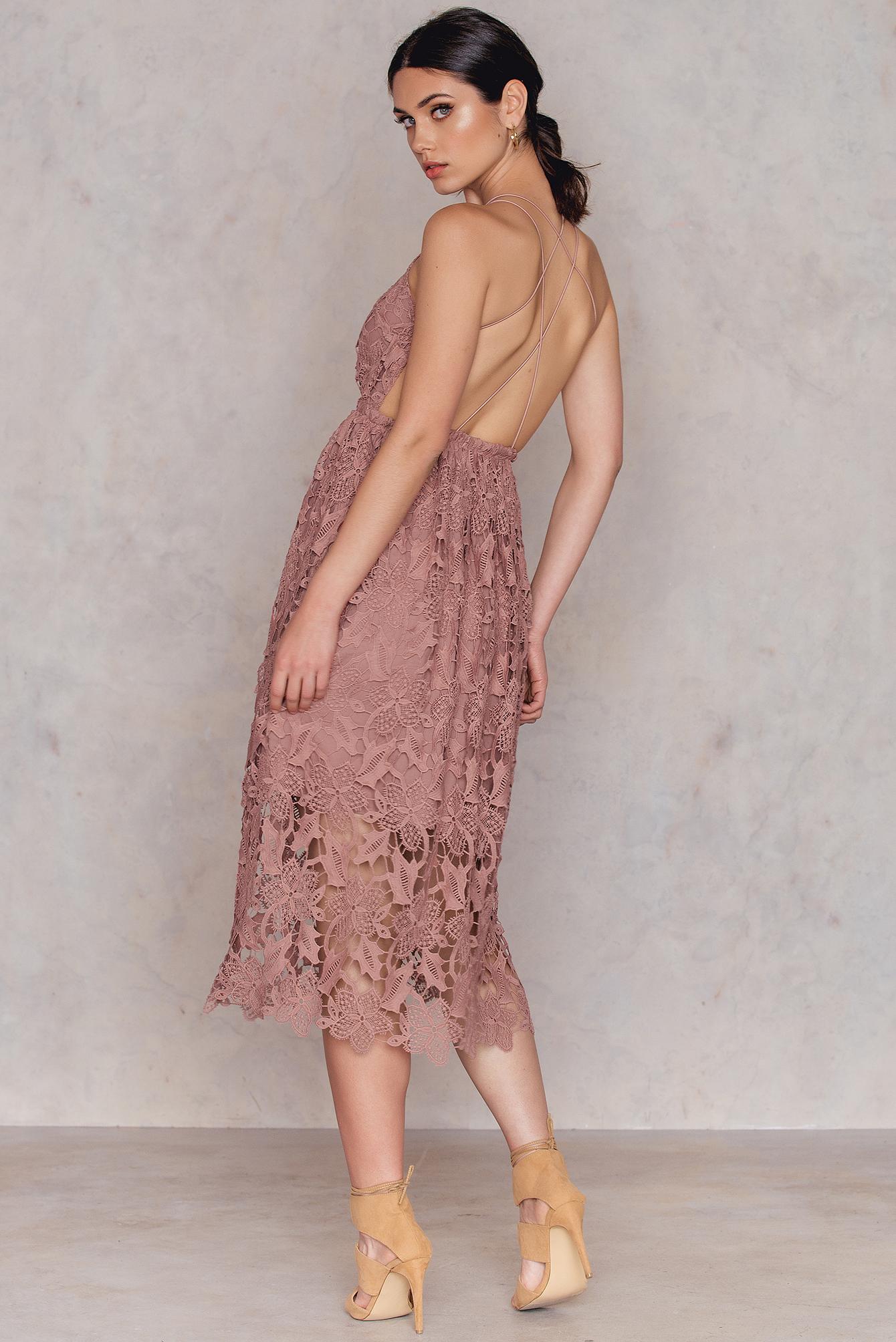 NA-KD Boho Crochet Strap Back Dress Pink by NA-KD Boho