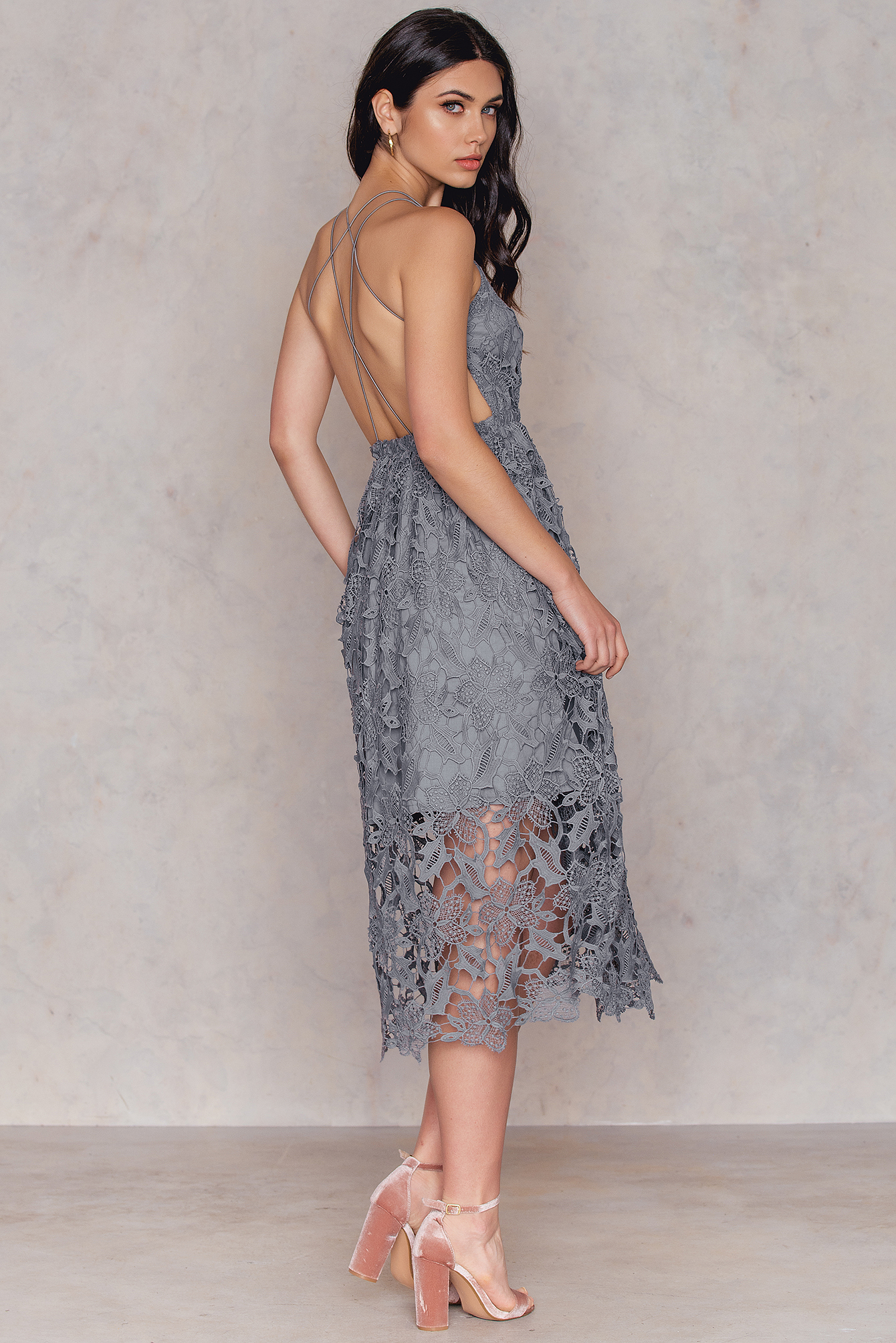 NA-KD Boho Crochet Strap Back Dress Grey