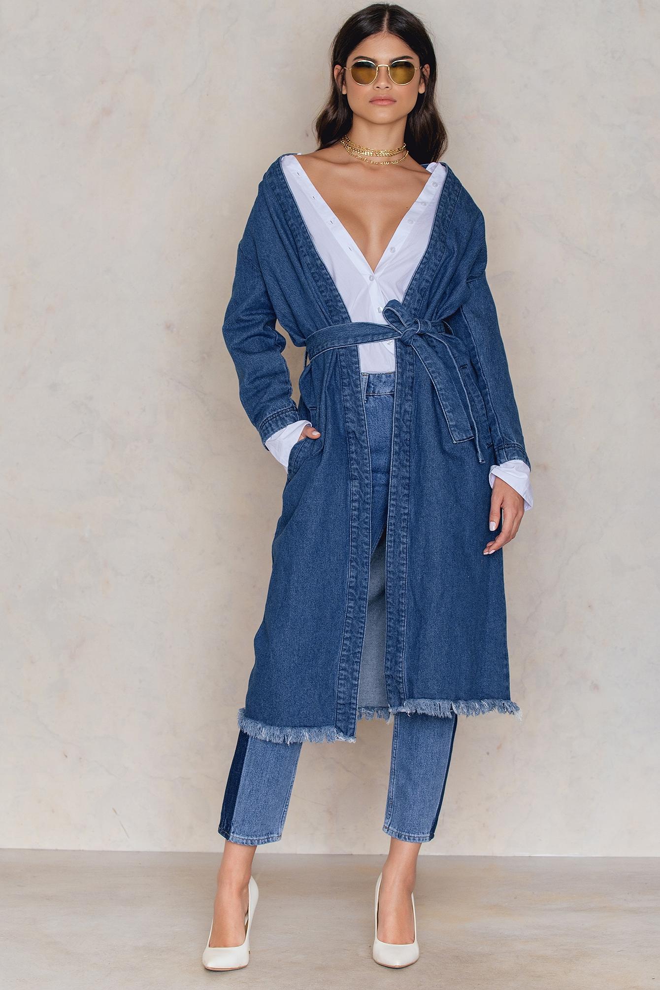 NA-KD Trend Denim Coat Blue