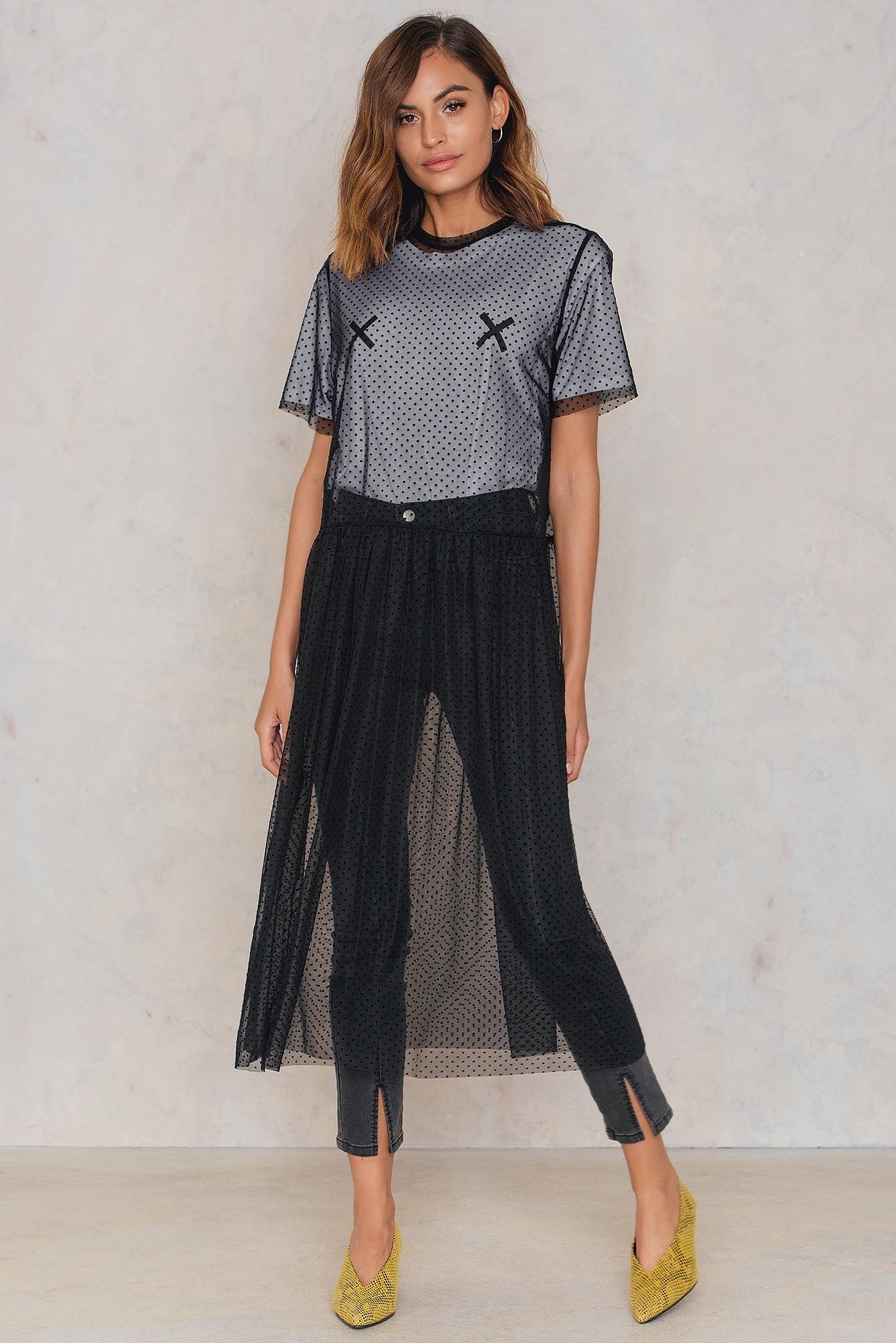 NA-KD Trend Dotted Mesh Midi Dress Black by NA-KD Trend