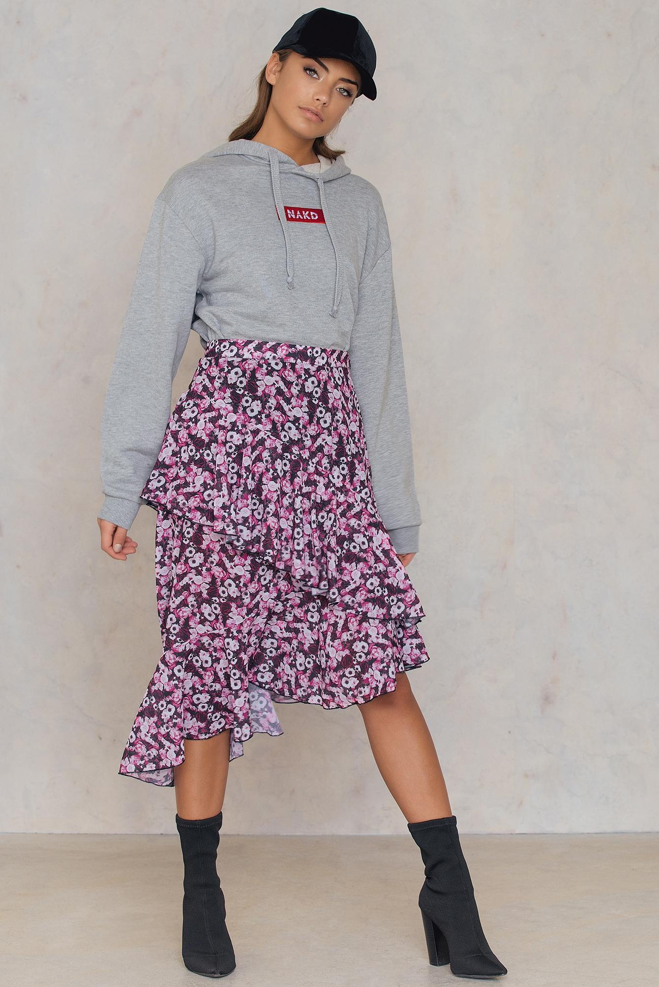 NA-KD Trend Double Layer Asymmetric Skirt Black, Pink, Orange