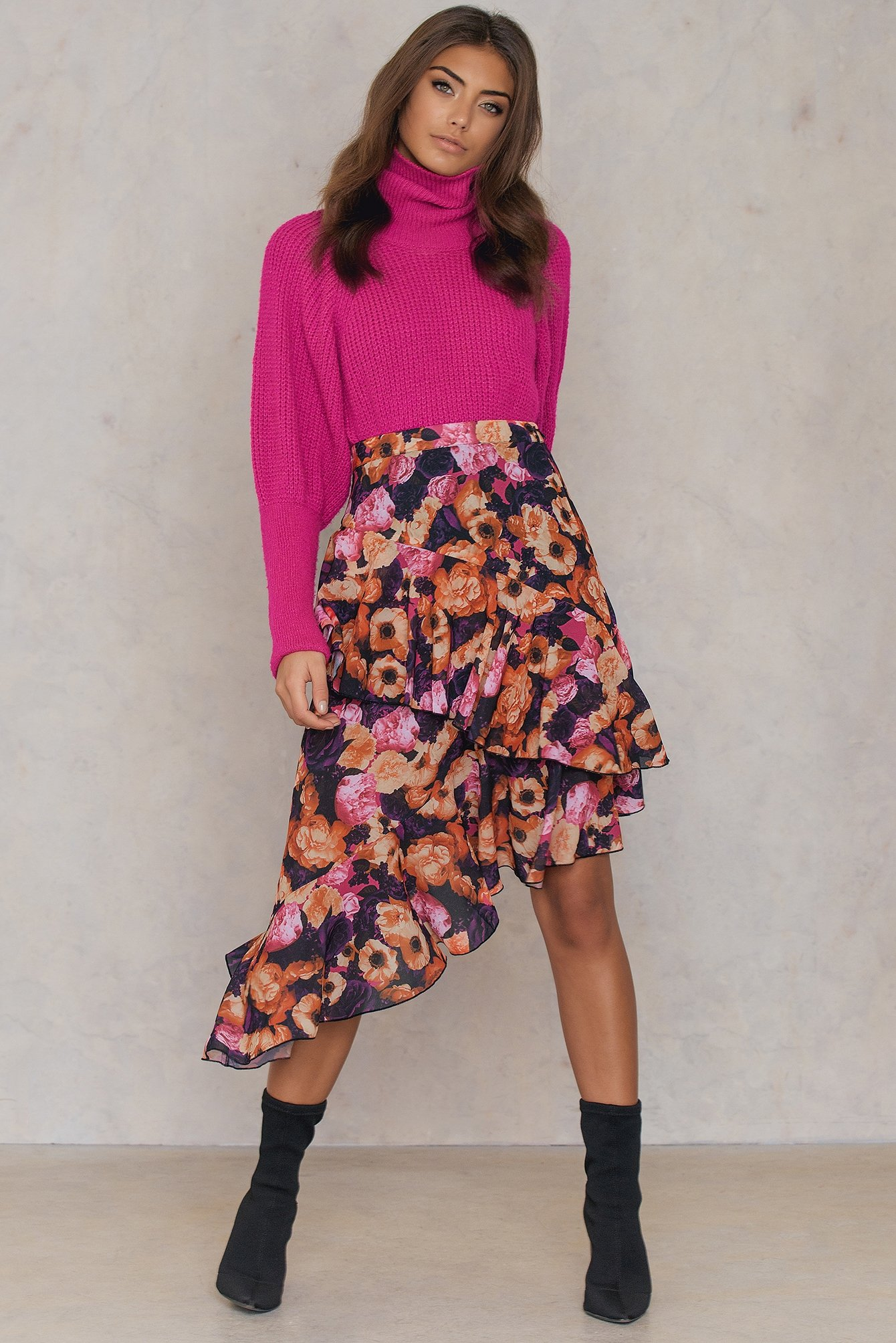 NA-KD Trend Double Layer Asymmetric Skirt Pink, Orange