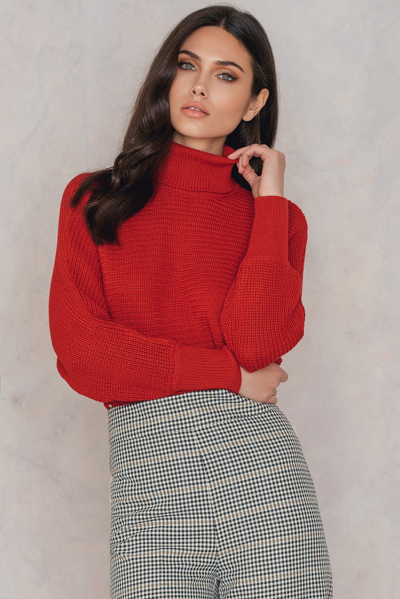 NA-KD Folded Knitted Sweater Red
