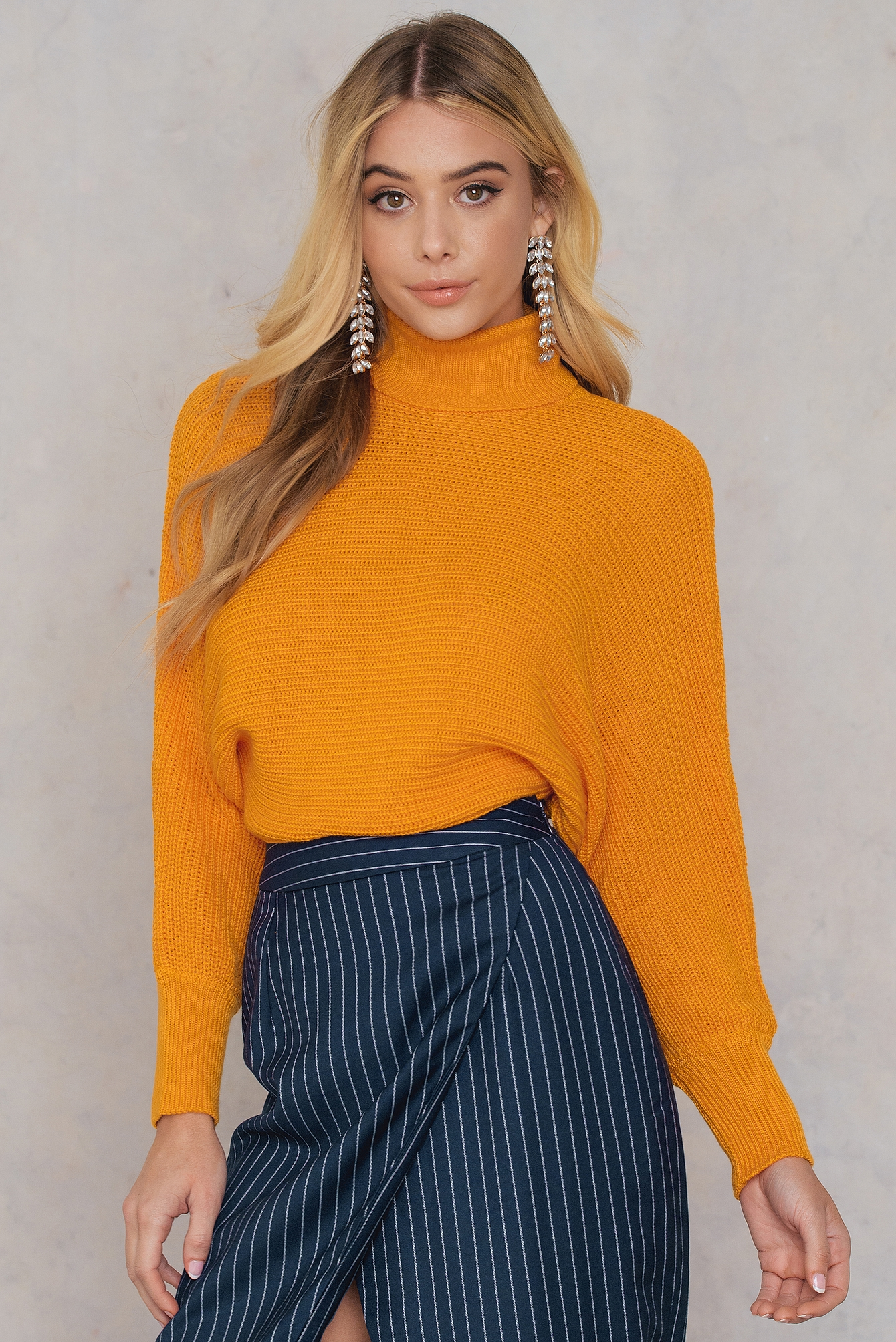 NA-KD Folded Knitted Sweater Orange